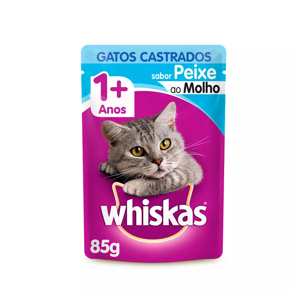WHISKAS SACHÊ CASTRADOS PEIXE 1+ 85G