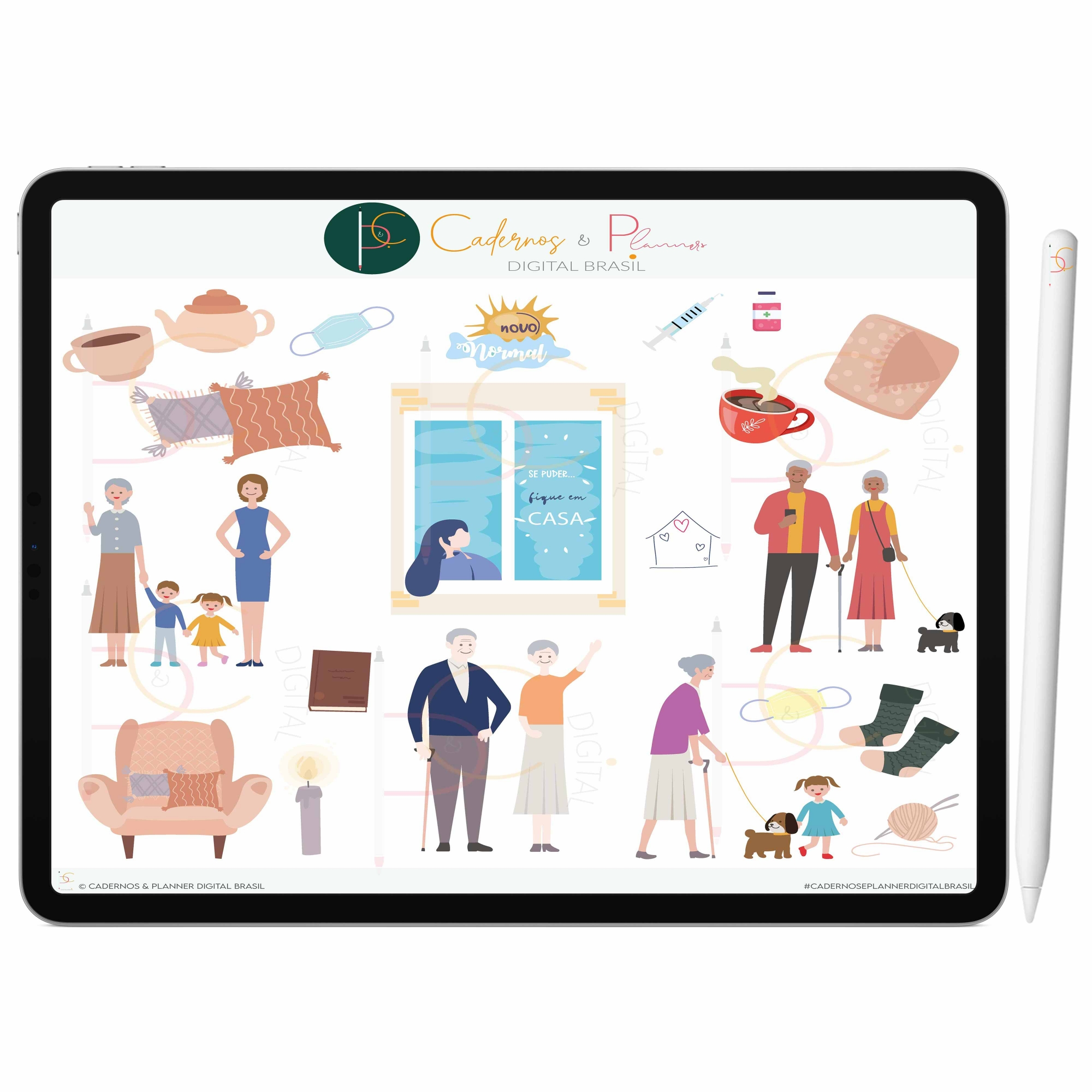 Adesivos Digital Fique Em Casa ' Cuide-se | Planner Digital, Caderno Digital | iPad ' Tablet | GoodNotes ' Noteshelf ' Notability