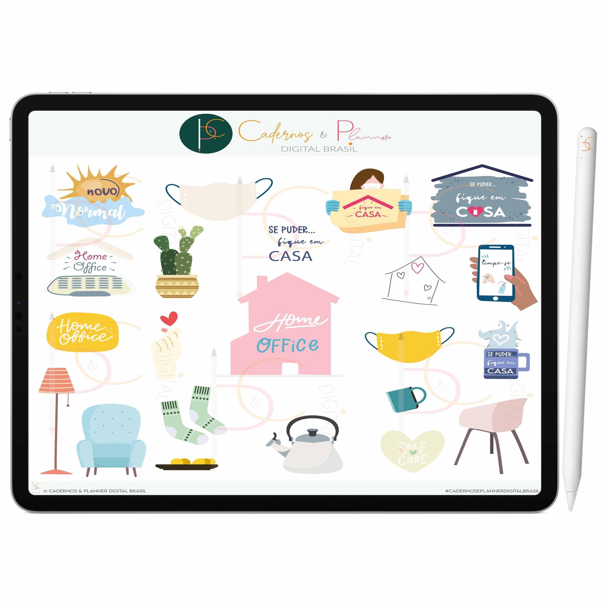 Adesivos Digital Fique Em Casa ' Proteja-se | Planner Digital, Caderno Digital | iPad ' Tablet | GoodNotes ' Noteshelf ' Notability