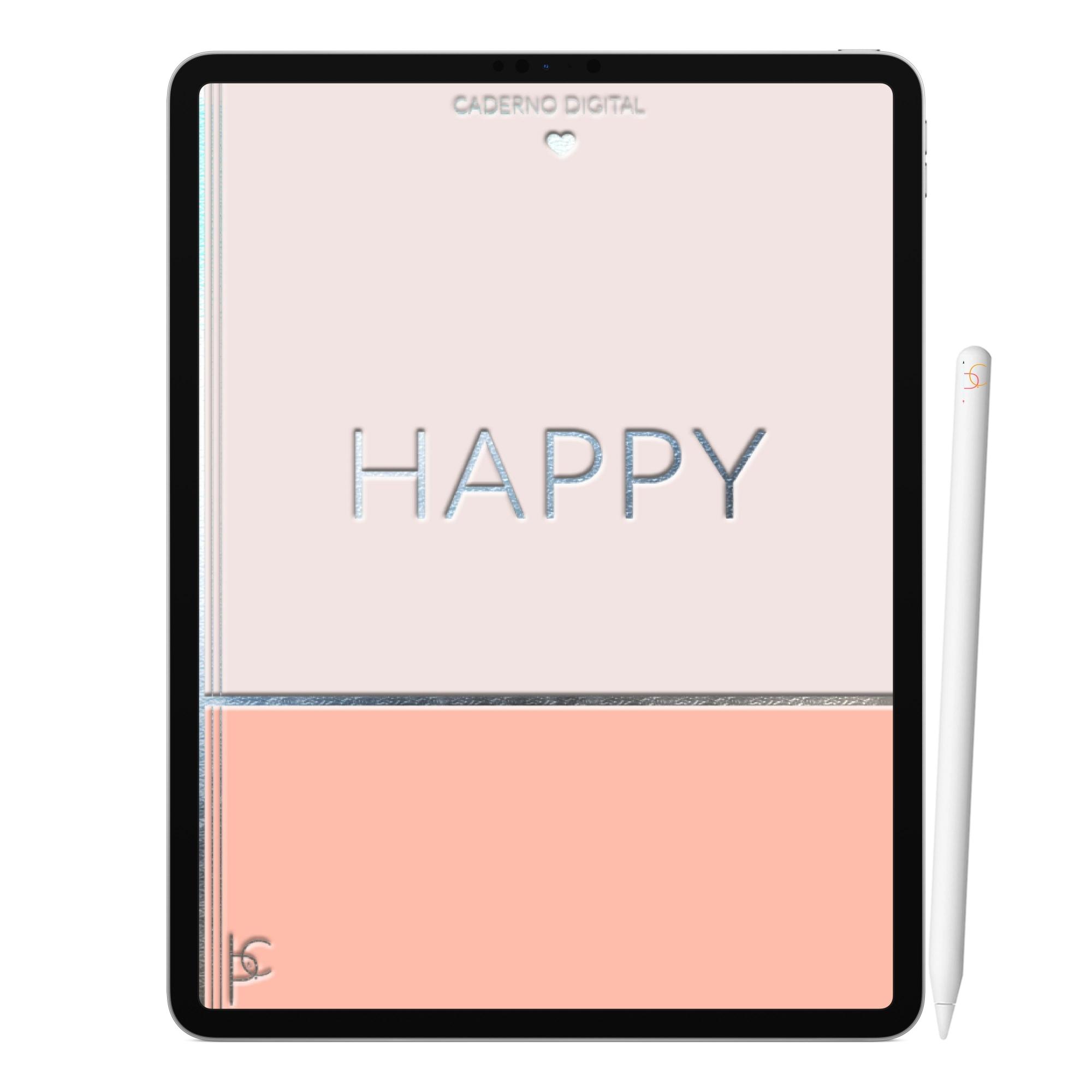 Caderno Digital Happy Feliz | Duas Matérias Interativo| iPad Tablet | Download Instantâneo