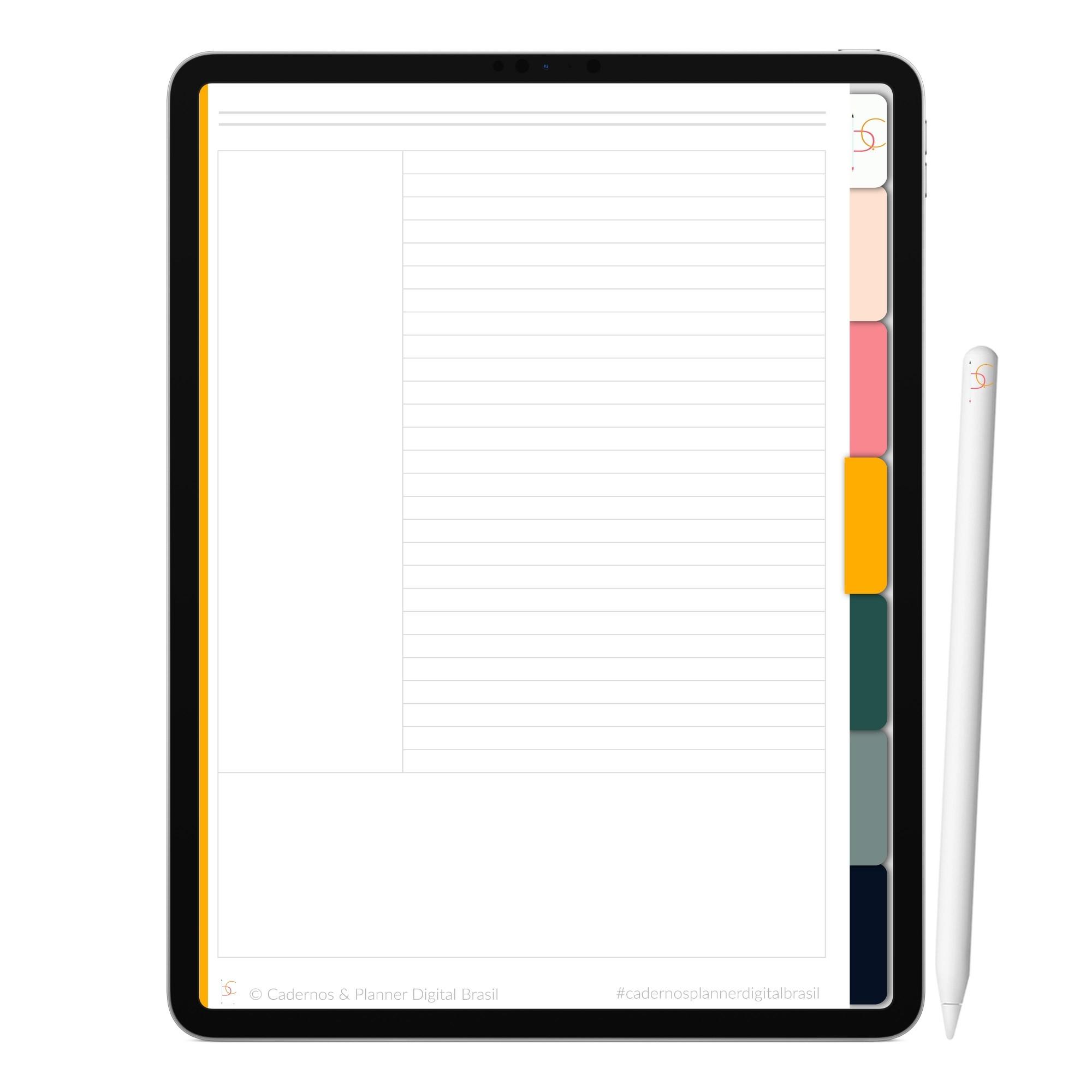 Caderno Digital Love Pink   Seis Divisórias Interativo  iPad Tablet   Download Instantâneo