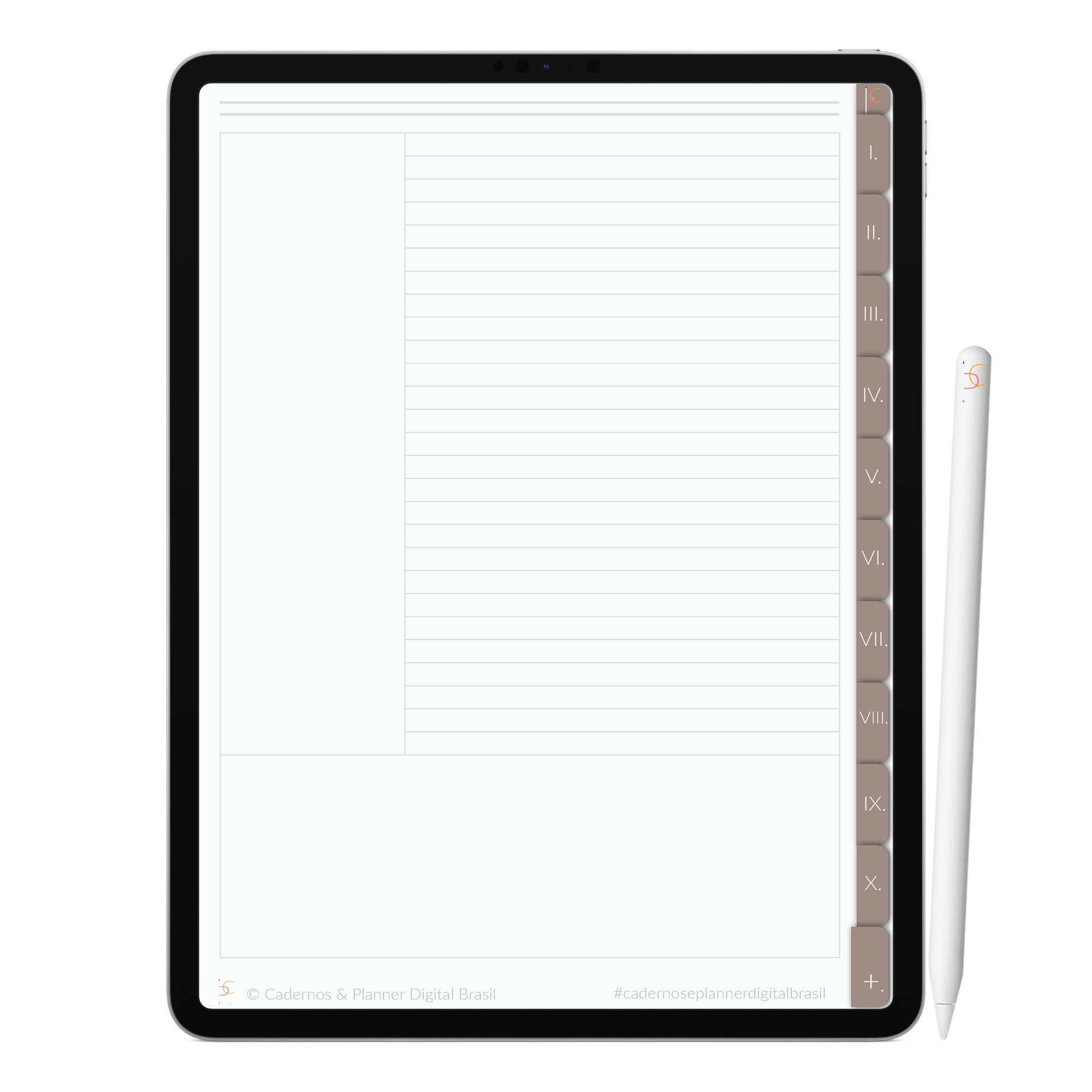 Caderno Digital Minimalista Coffee | Dez Divisórias Interativo| iPad Tablet | Download Instantâneo