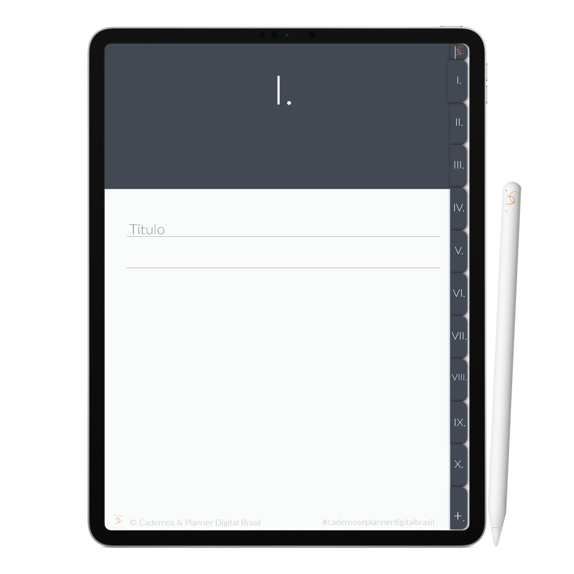 Caderno Digital Minimalista Oceanos Imensidão | Dez Divisórias Interativo| iPad Tablet | Download Instantâneo