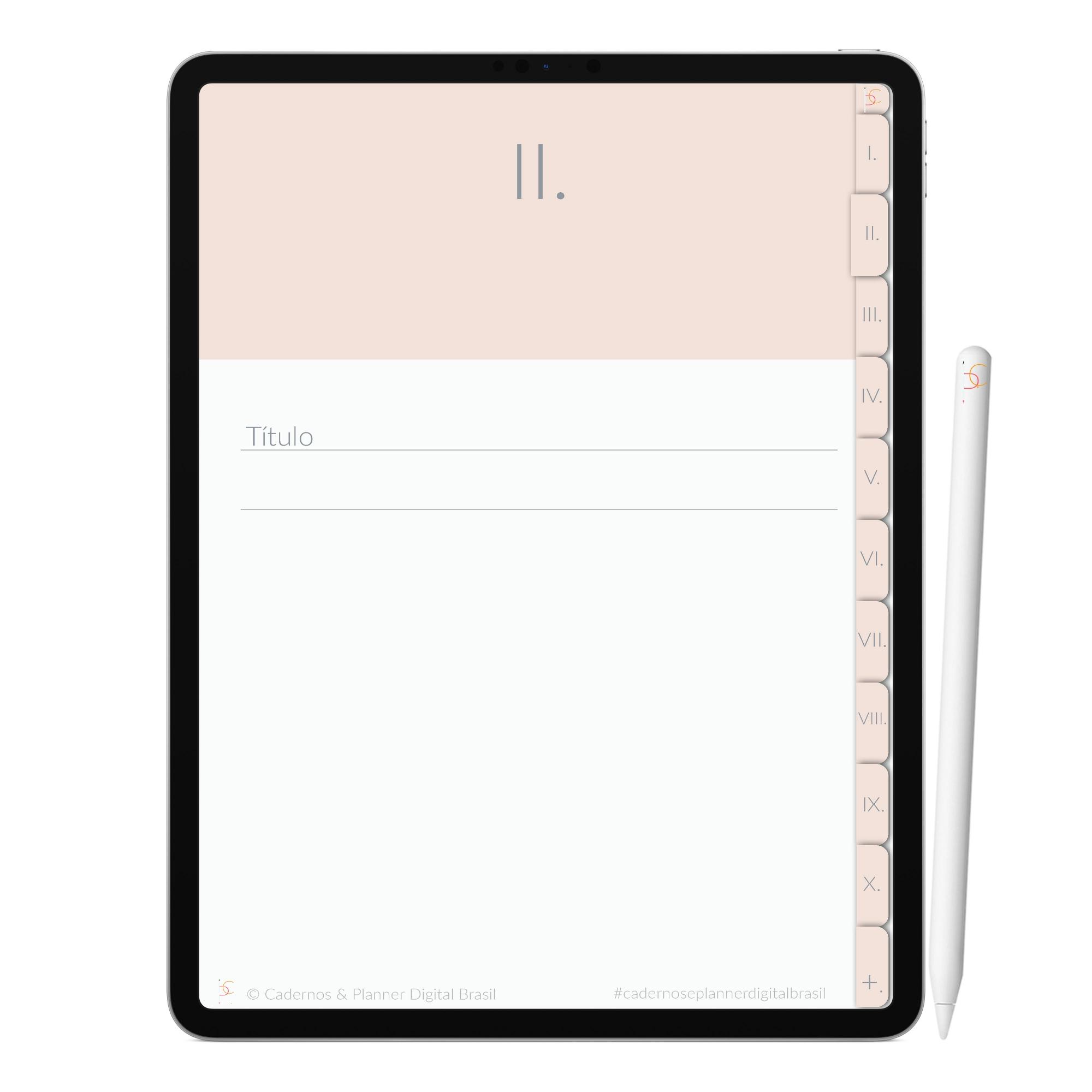 Caderno Digital Minimalista Pearl Pérola | Dez Divisórias Interativo| iPad Tablet | Download Instantâneo