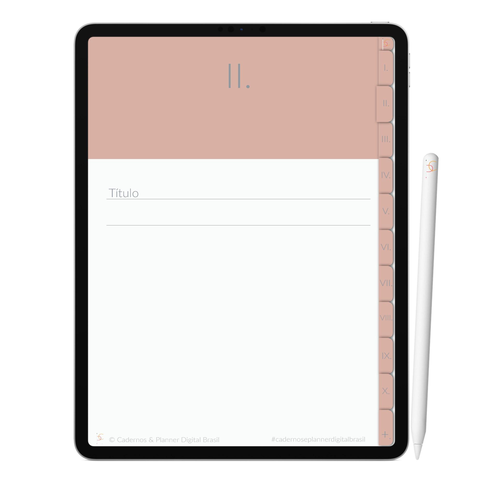 Caderno Digital Minimalista Rosa do Deserto | Dez Divisórias Interativo| iPad Tablet | Download Instantâneo
