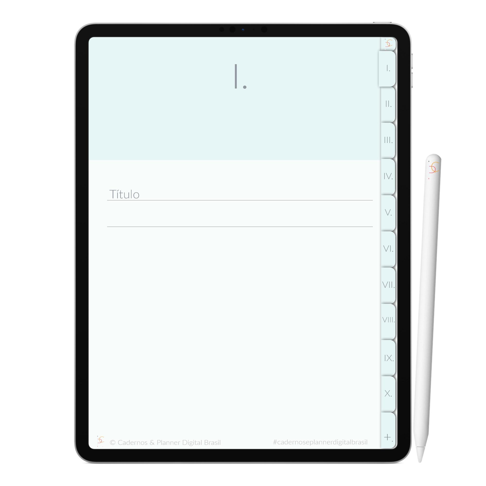 Caderno Digital Minimalista Snow Neve | Dez Divisórias Interativo| iPad Tablet | Download Instantâneo