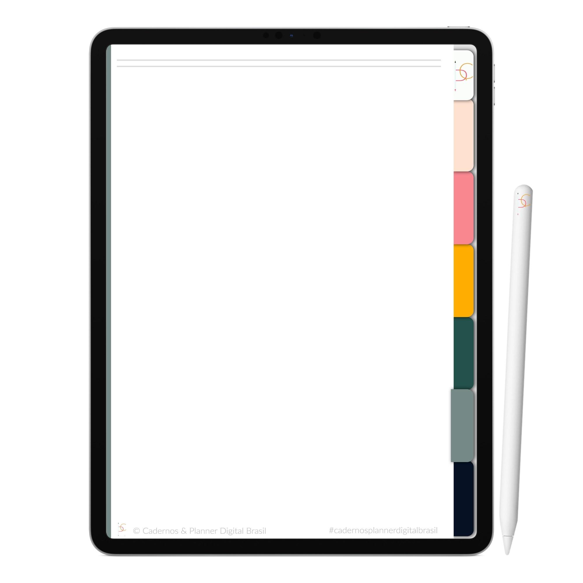 Caderno Digital Olive | Seis Divisórias Interativo| iPad Tablet | Download Instantâneo