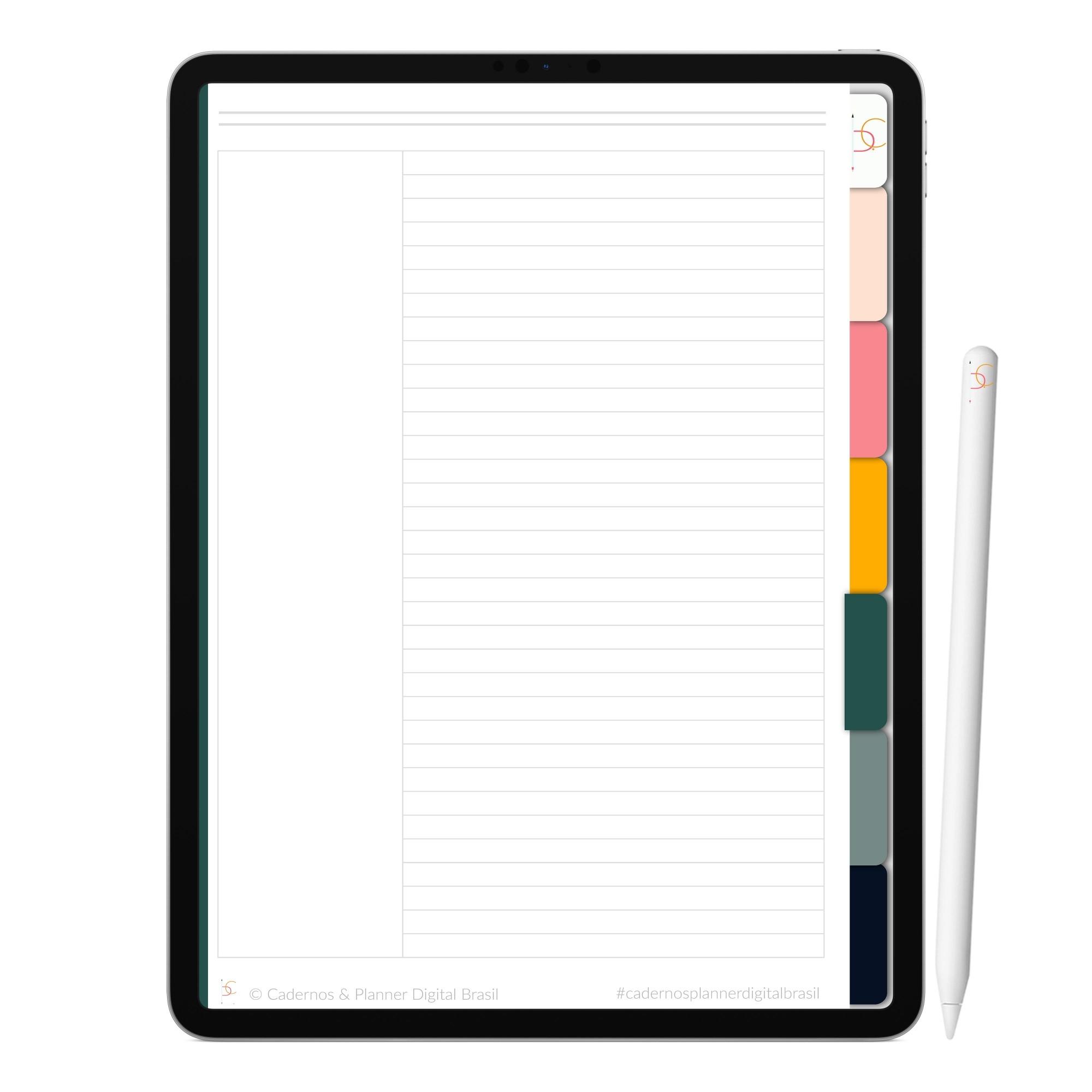Caderno Digital Pó Estrelar | Seis Divisórias Interativo| iPad Tablet | Download Instantâneo