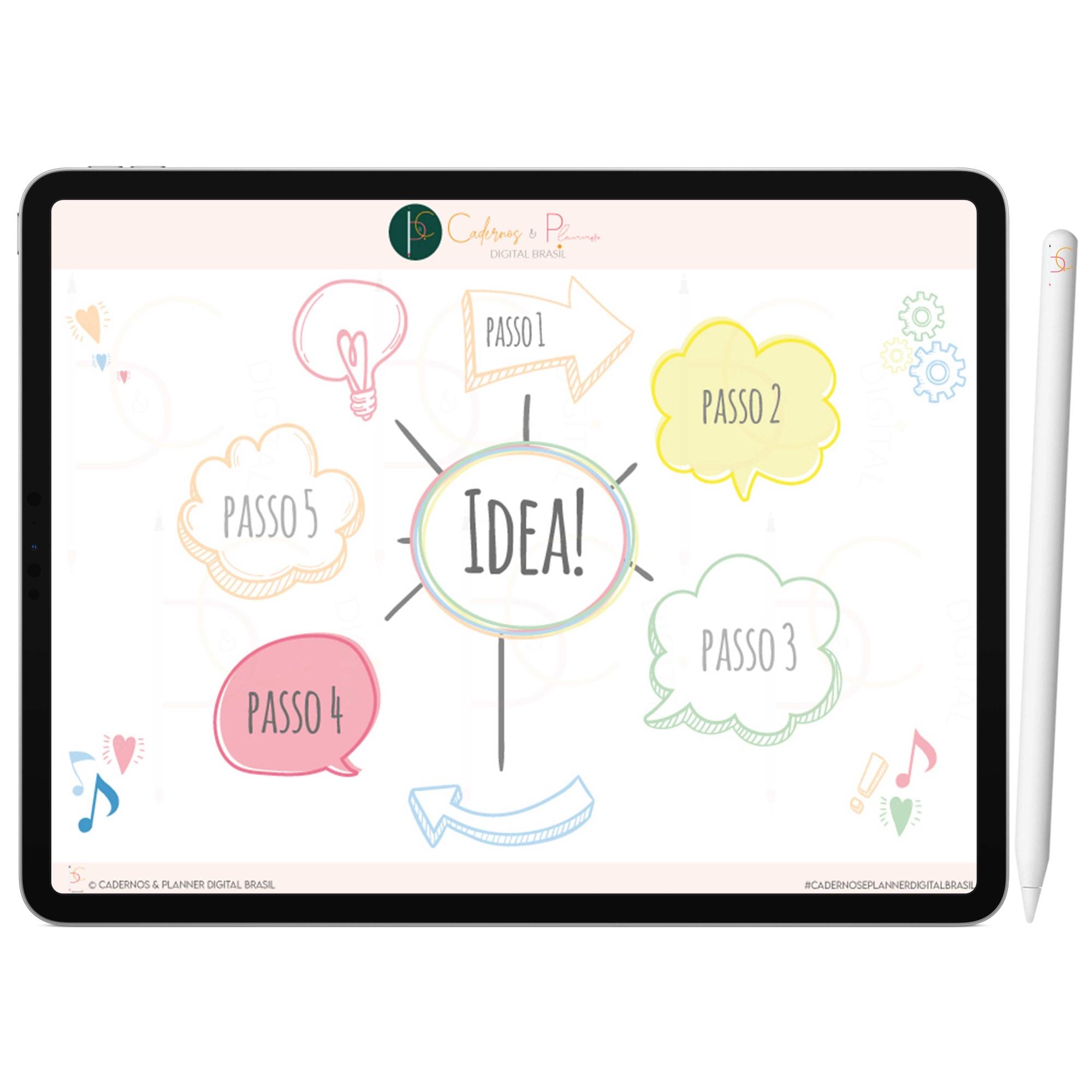 Adesivos Digital de Mapa Mental Arco-Íris | iPad Tablet | Download Instantâneo