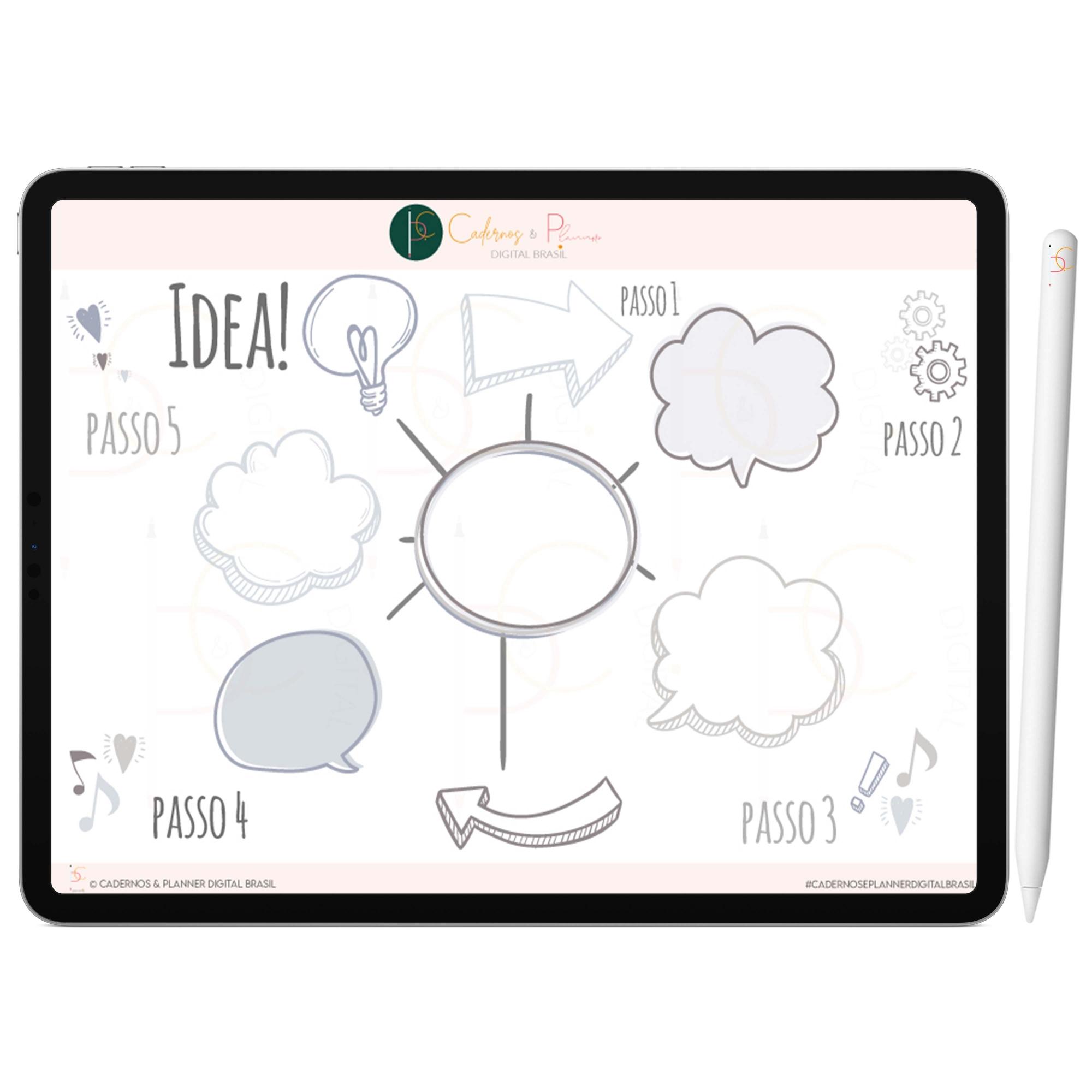Adesivos Digital de Mapa Mental | Céu Noturno 5 Tons de Cinza | iPad Tablet | Download Instantâneo