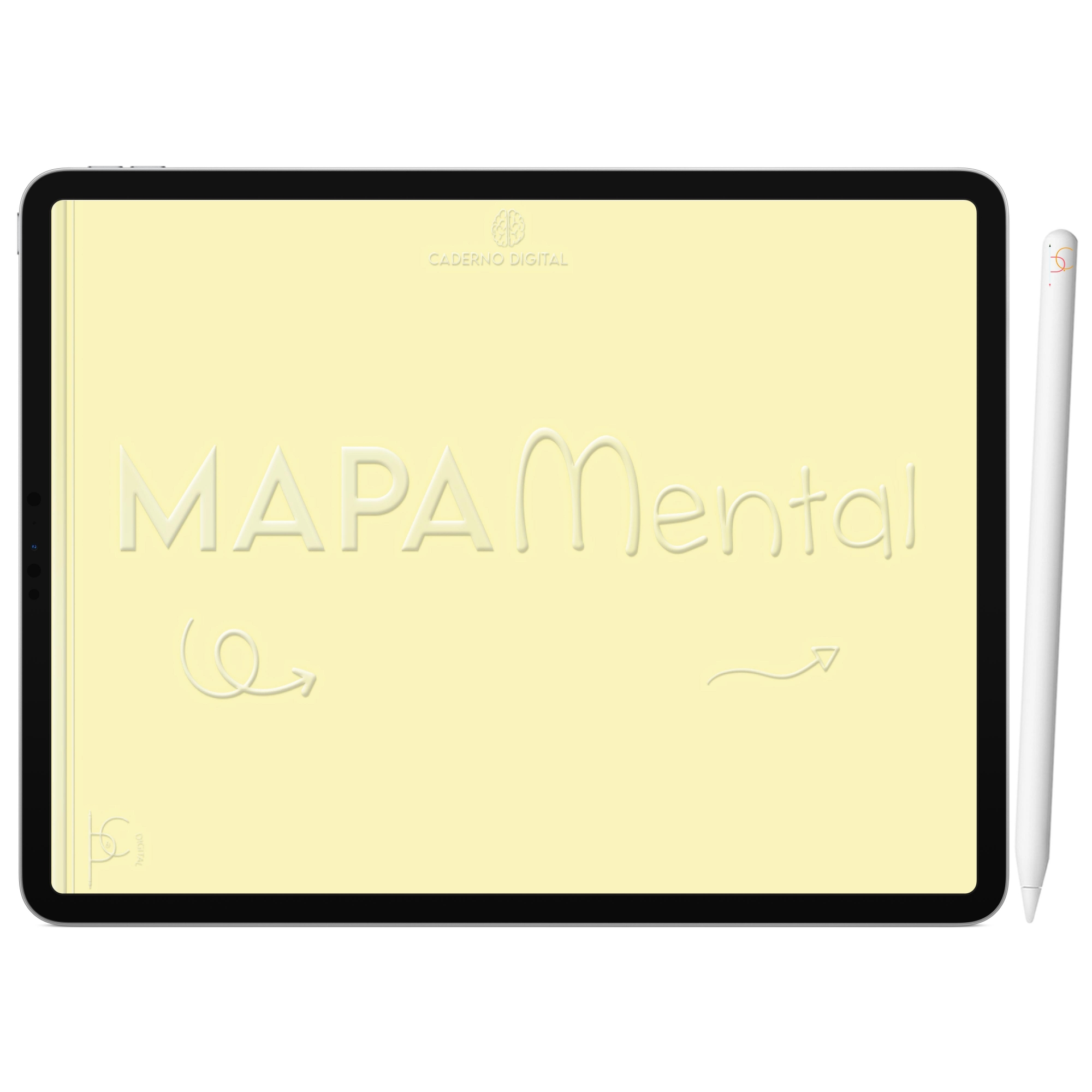 Mapa Mental Digital Amarelo Arco-Íris | Cinco Matérias Interativo| iPad Tablet | Download Instantâneo