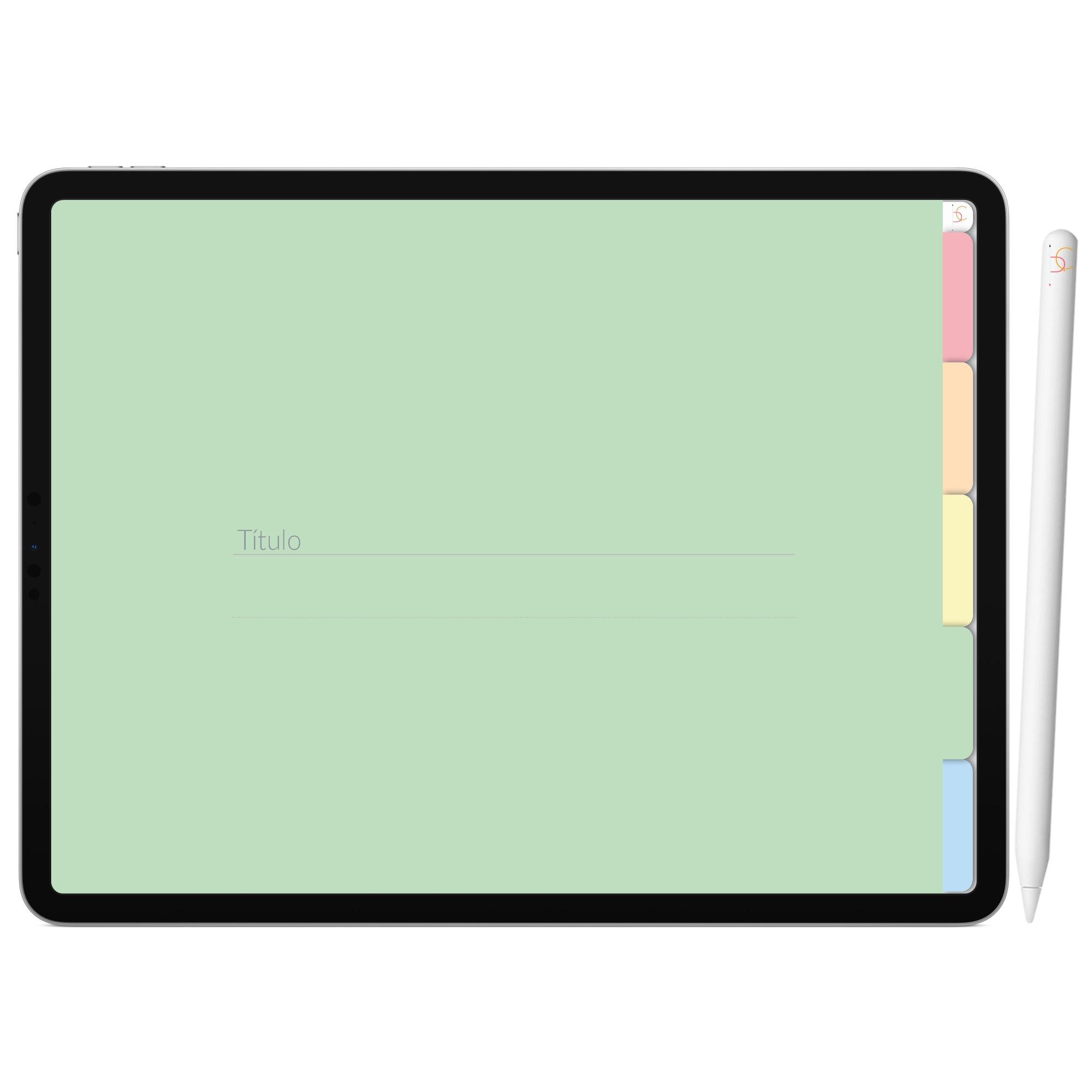 Mapa Mental Digital Azul Arco-Íris | Cinco Matérias Interativo| iPad Tablet | Download Instantâneo
