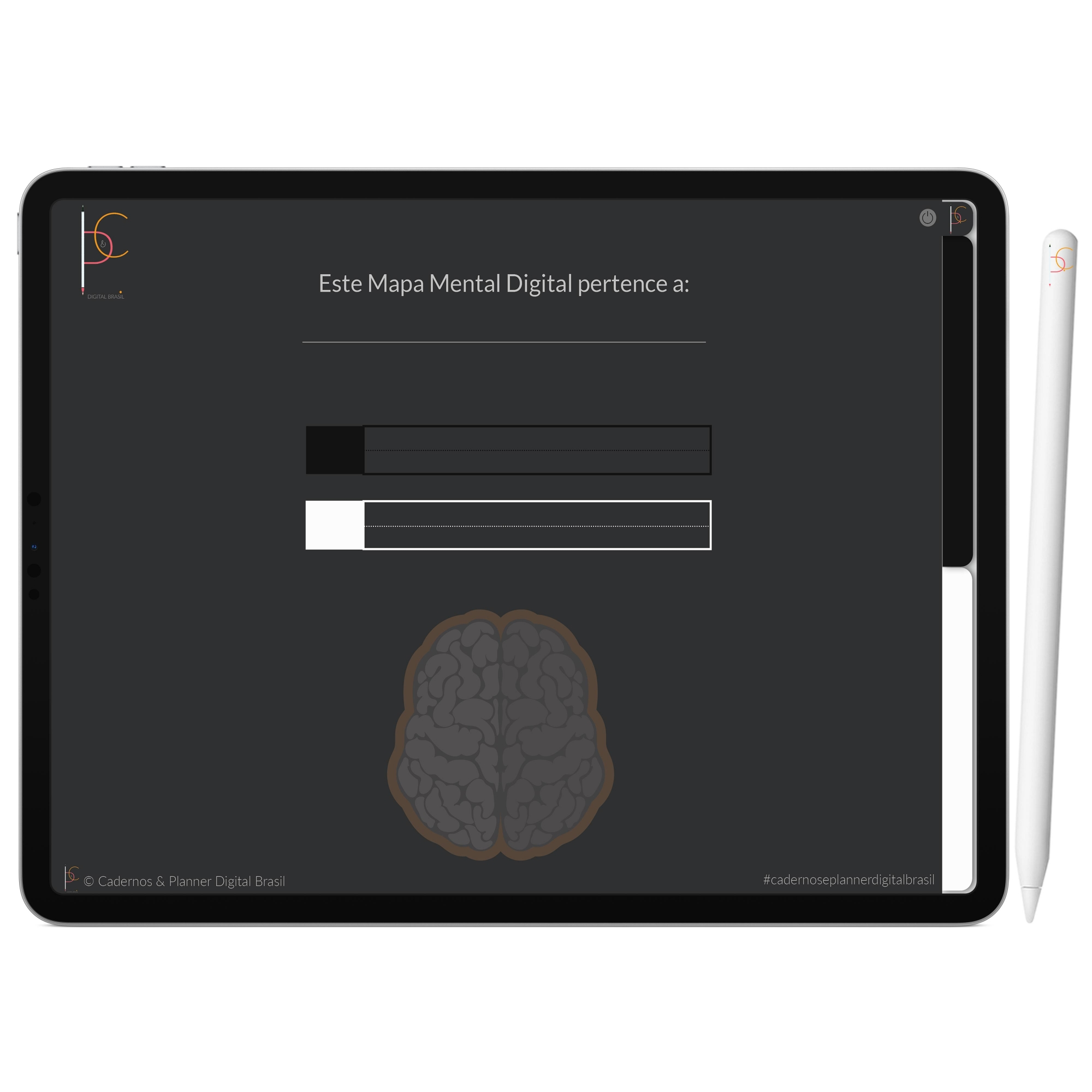 Mapa Mental Digital Black White | Duas Matérias Interativo| iPad Tablet | Download Instantâneo