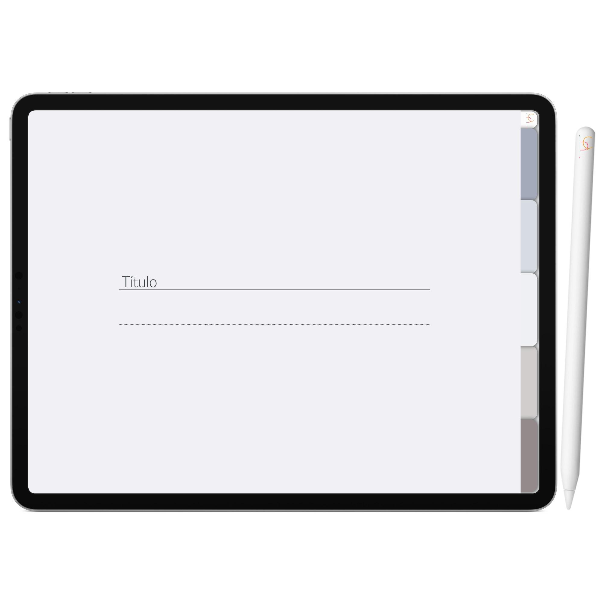 Mapa Mental Digital Cinza Escuro Céu Noturno | Cinco Matérias Interativo| iPad Tablet | Download Instantâneo