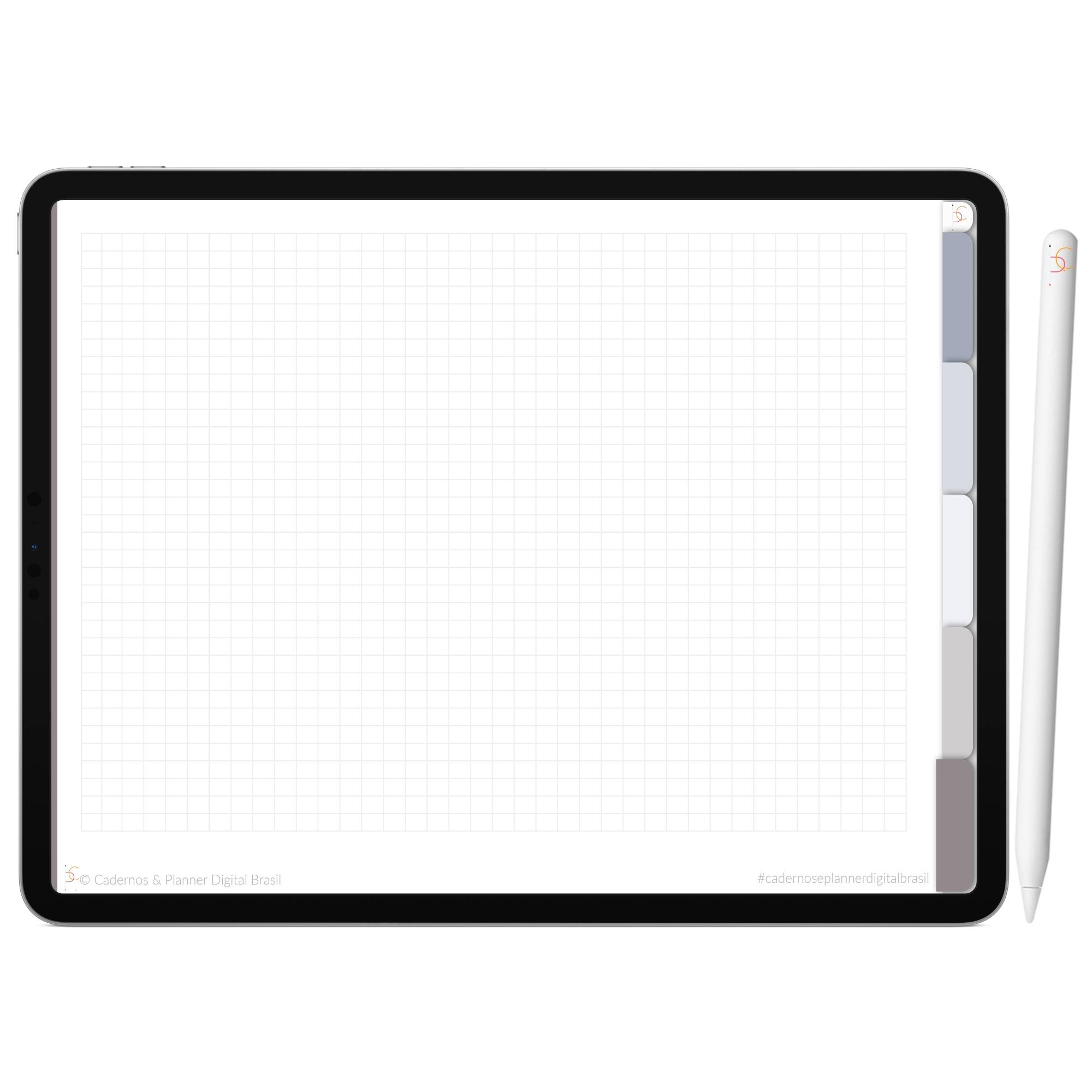 Mapa Mental Digital Cinza Light Céu Noturno | Cinco Matérias Interativo| iPad Tablet | Download Instantâneo
