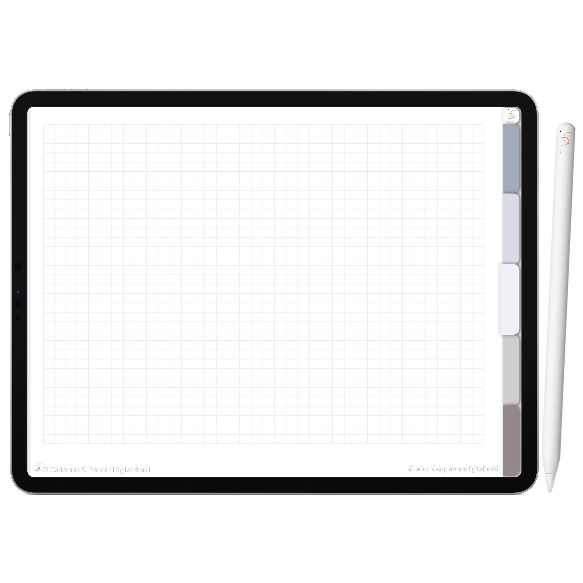 Mapa Mental Digital Cinza Névoa Céu Noturno | Cinco Matérias Interativo| iPad Tablet | Download Instantâneo