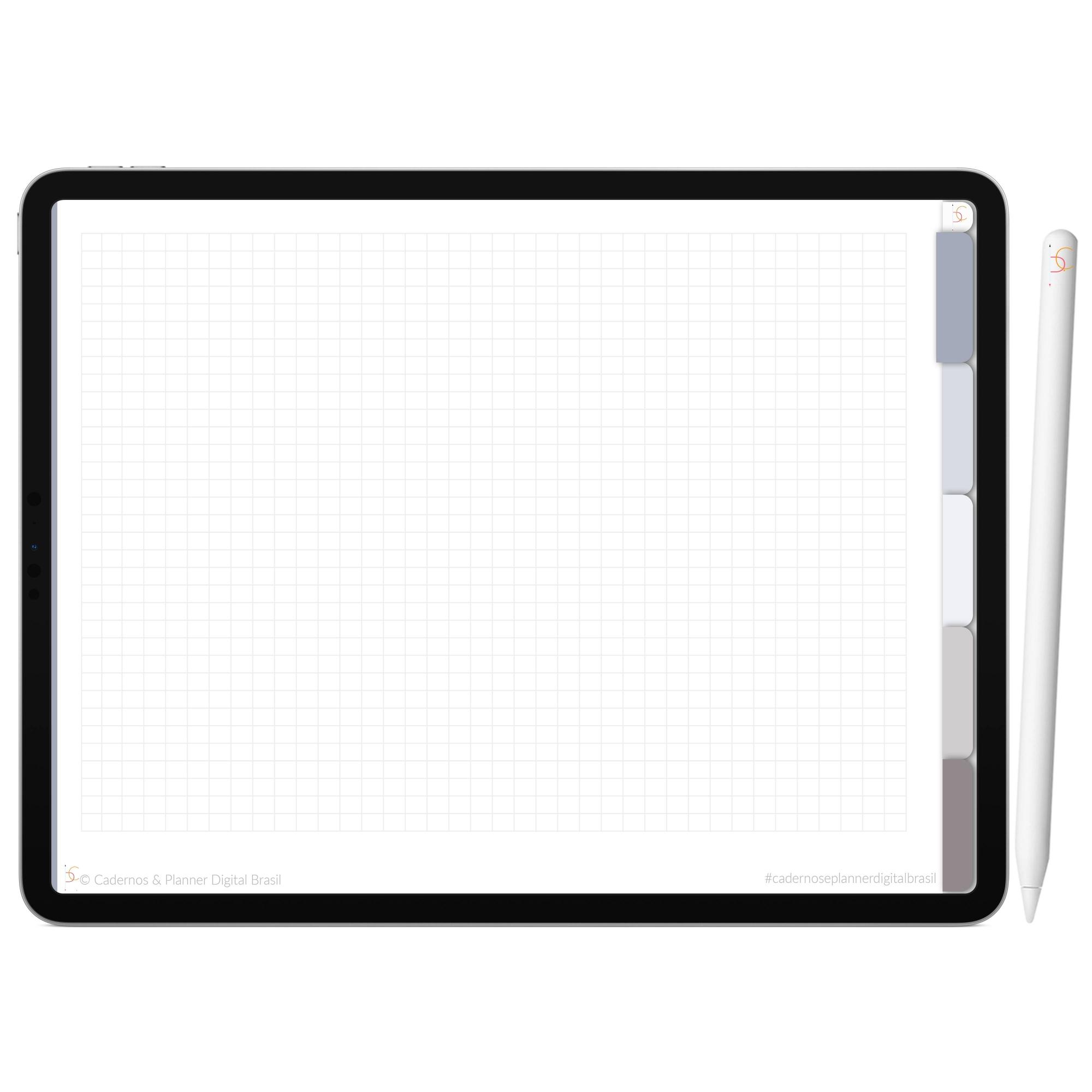 Mapa Mental Digital Cinza Nuvem Céu Noturno | Cinco Matérias Interativo| iPad Tablet | Download Instantâneo