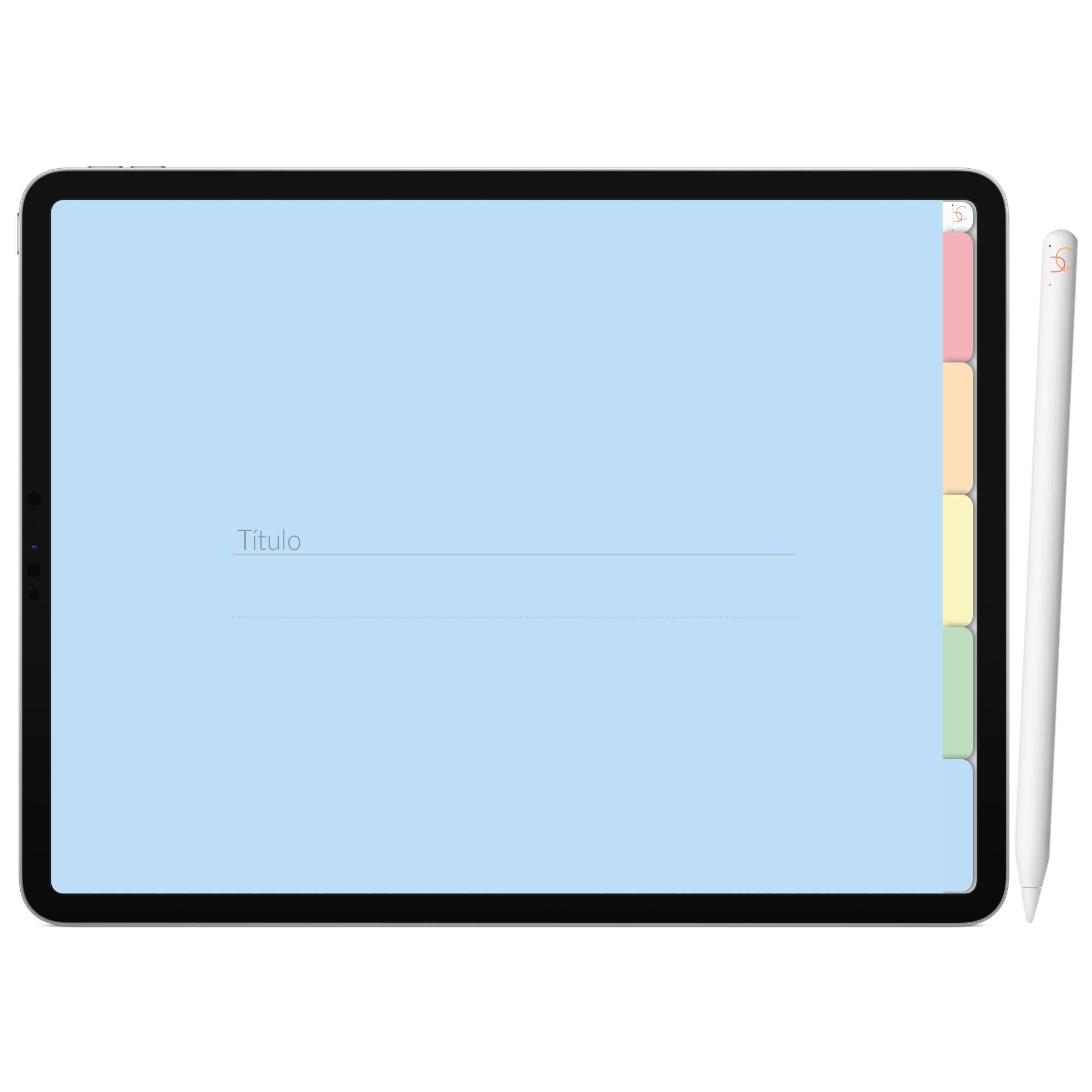 Mapa Mental Digital Verde Arco-Íris | Cinco Matérias Interativo| iPad Tablet | Download Instantâneo