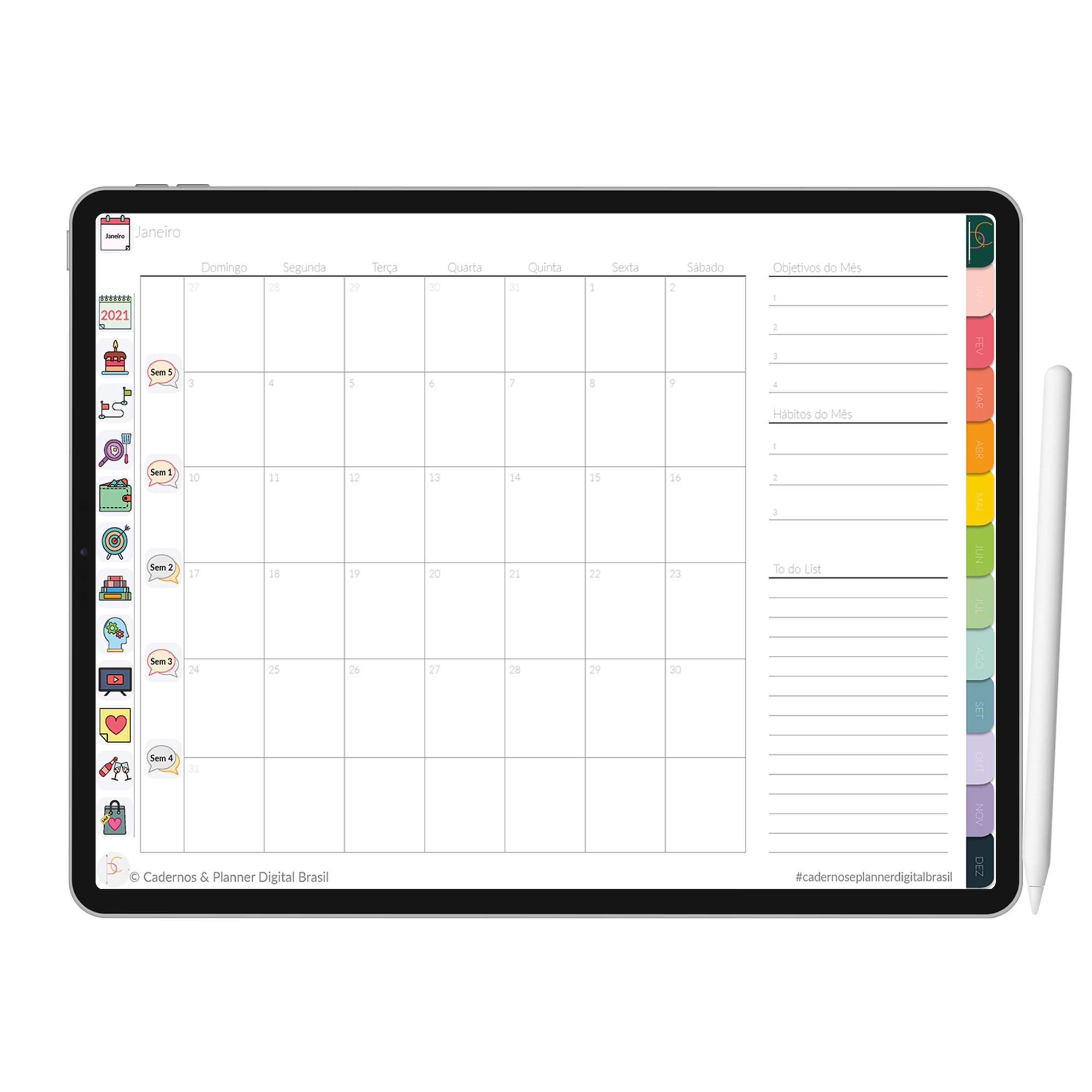 Planner Digital Anual, Mensal, Semanal, Diário   iPad Tablet   Download Instantâneo