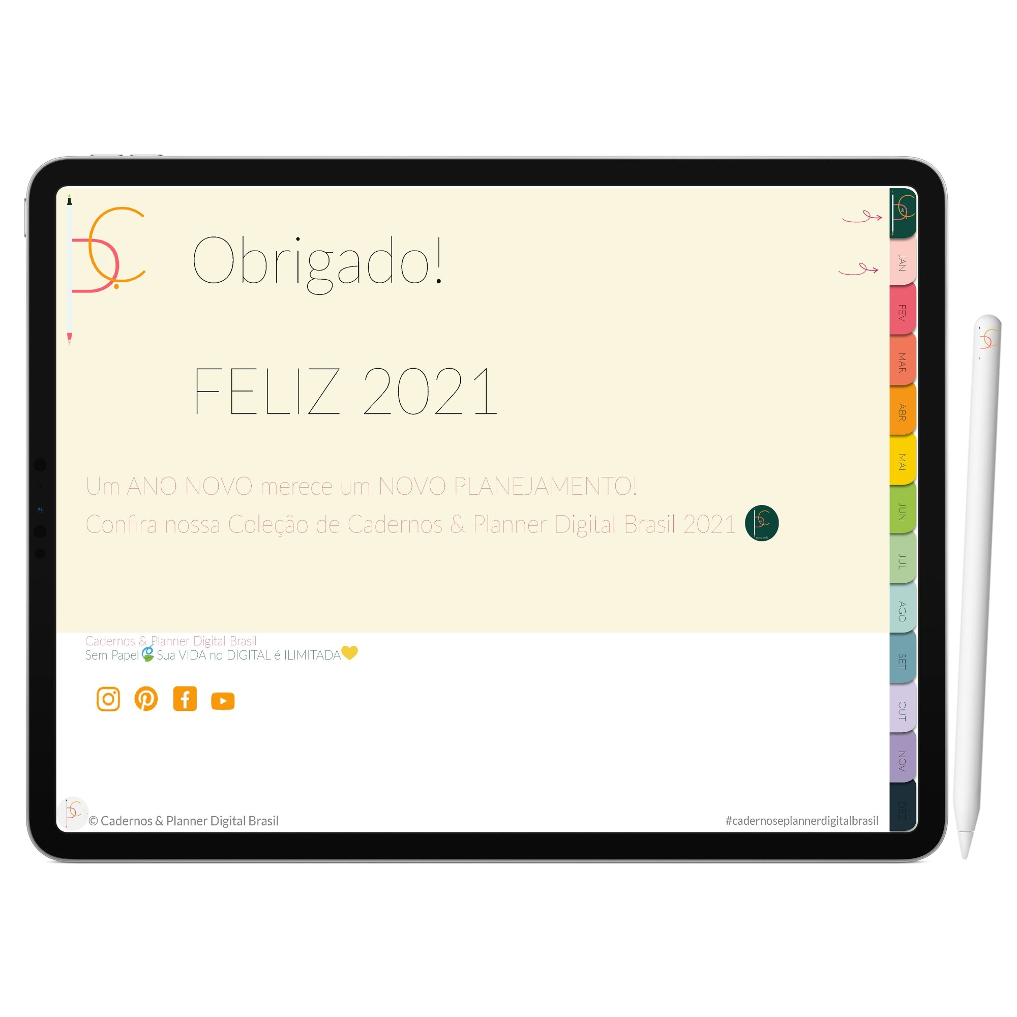 Planner Digital 2021 Experimente Grátis | iPad Tablet | Download Instantâneo