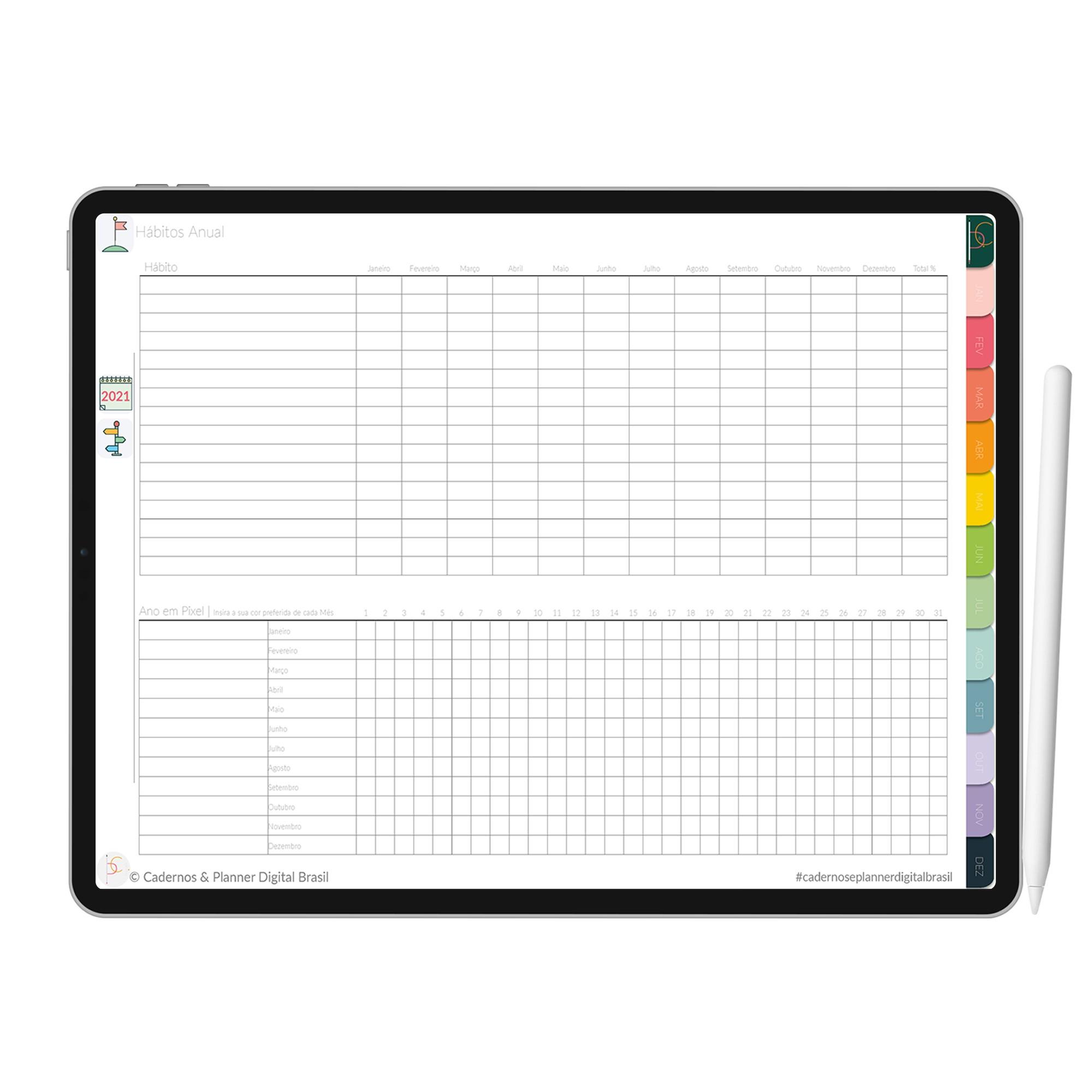 Planner Digital | Anual, Mensal, Semanal, Diário |  Objetivos e Metas | iPad Tablet | Download Instantâneo