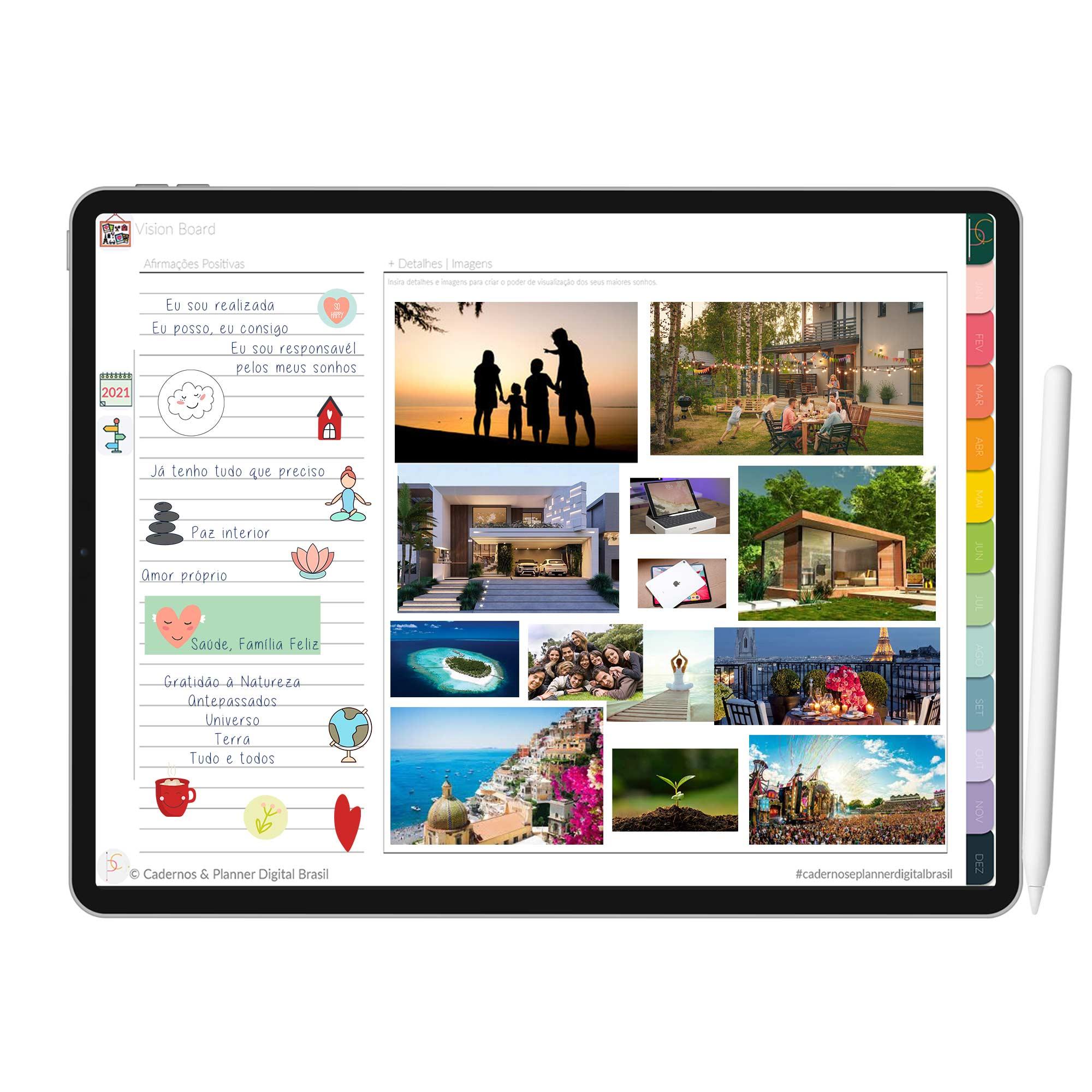 Planner Digital |Planejamento Diário, Semanal, Mensal, Anual | Coração | iPad Tablet | Download Instantâneo