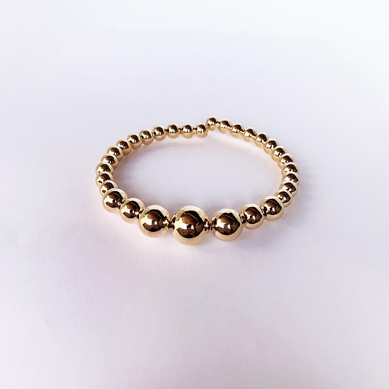 Bracelete Dourado com Bolas Grandes em Degrade