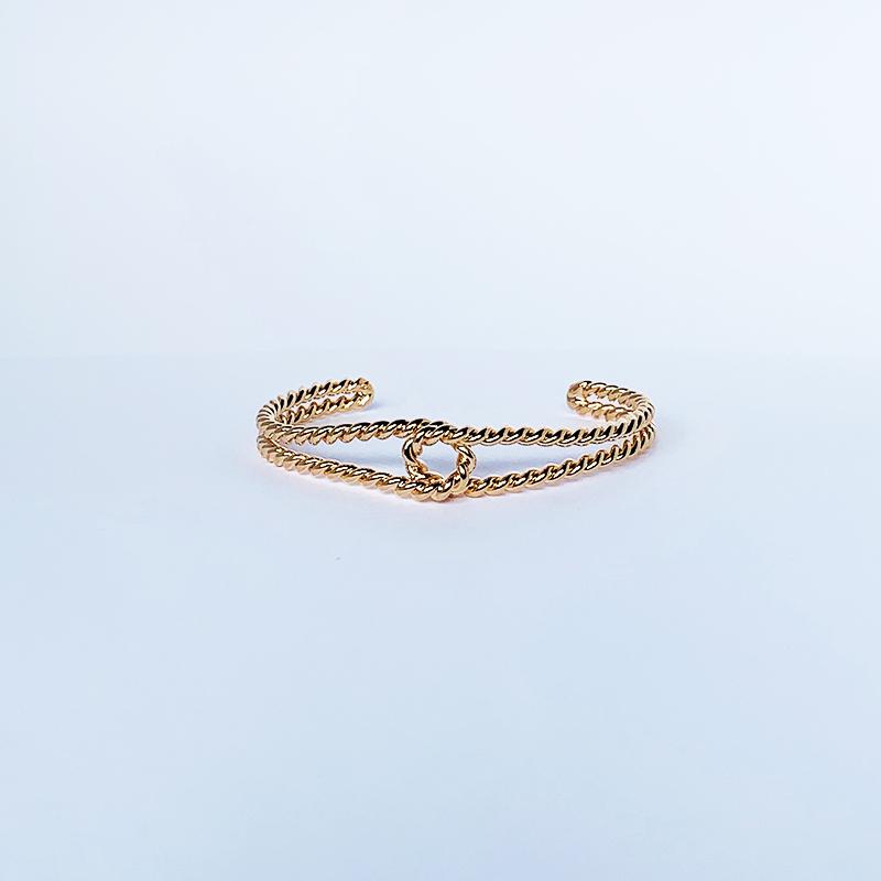 Bracelete Dourado de Fio Duplo Torcido