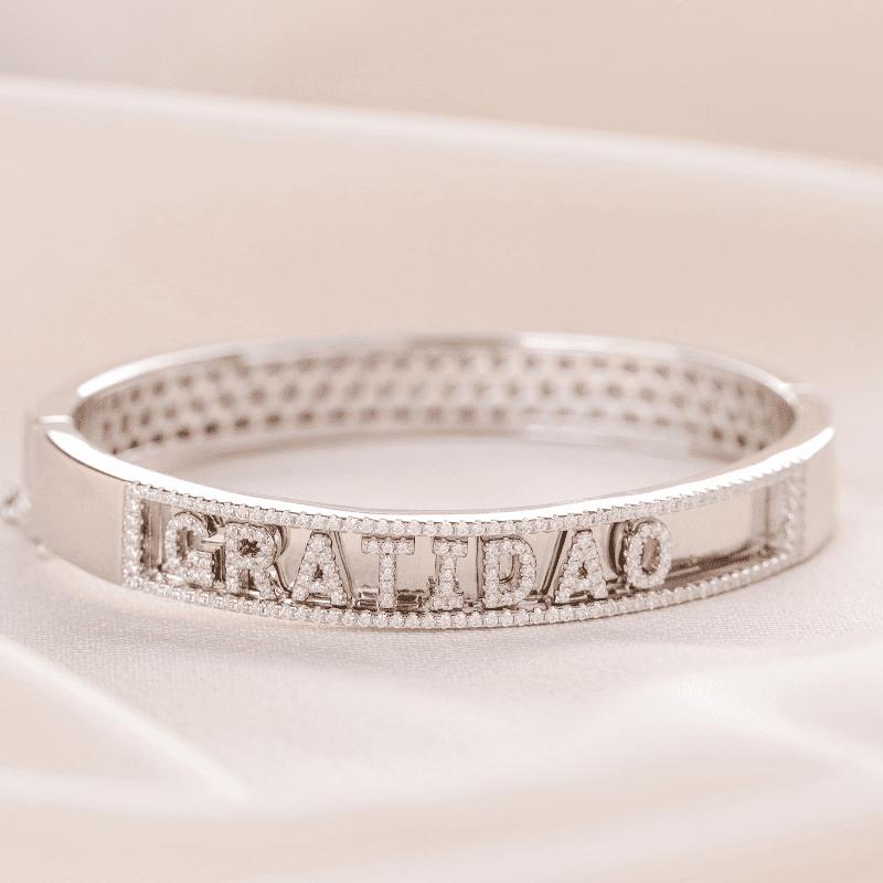 Bracelete em Prata Ródio Gratidão em Zircônias branca