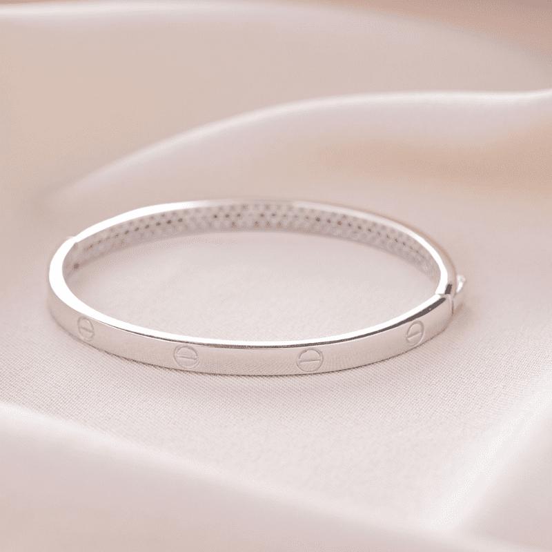 Bracelete  em Prata Ródio Love Cartier Liso