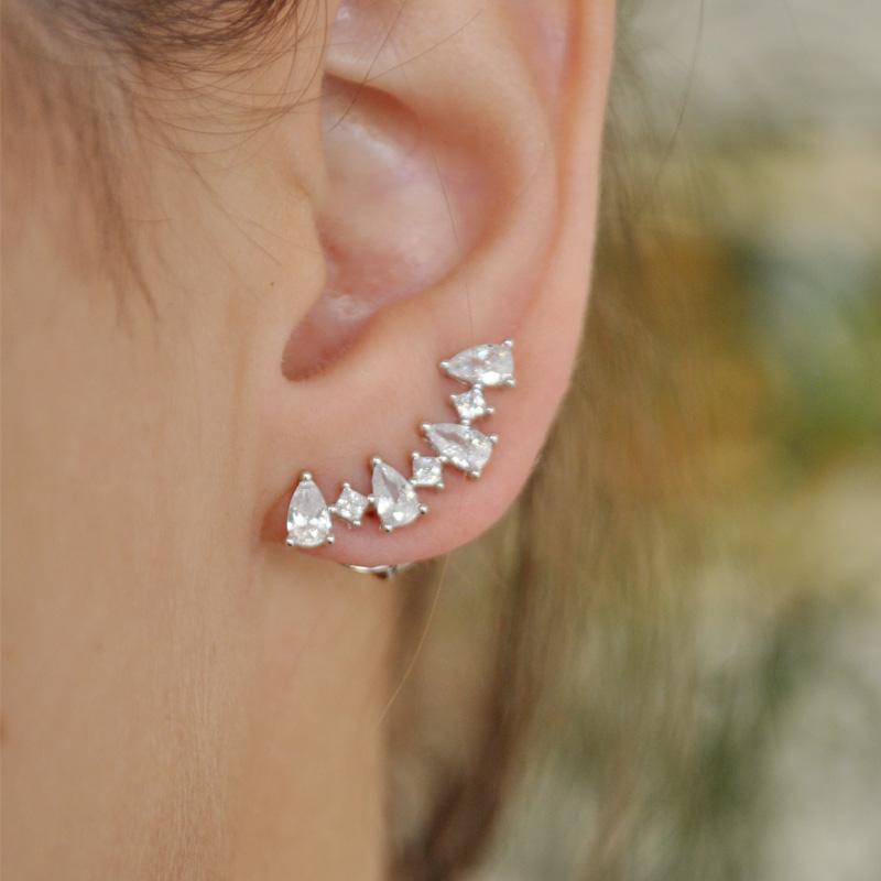 Brinco Ear Cuff com Zircônias em Gotas