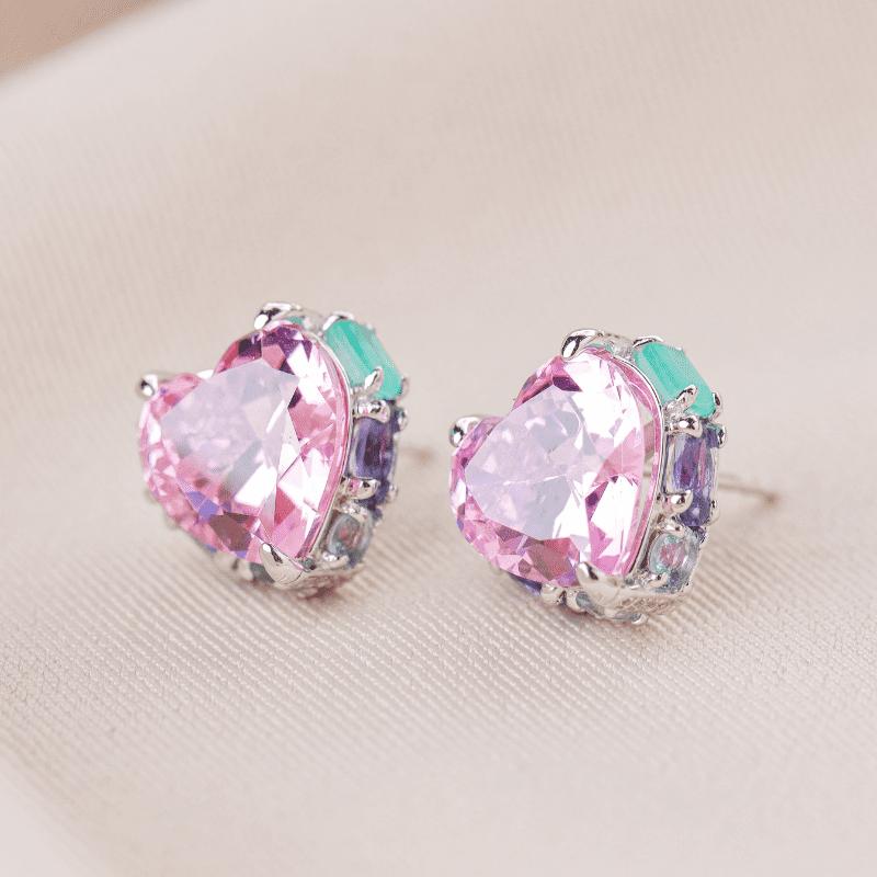 Brinco em Prata Ródio Coração Rosa Caixa zircônias coloridas