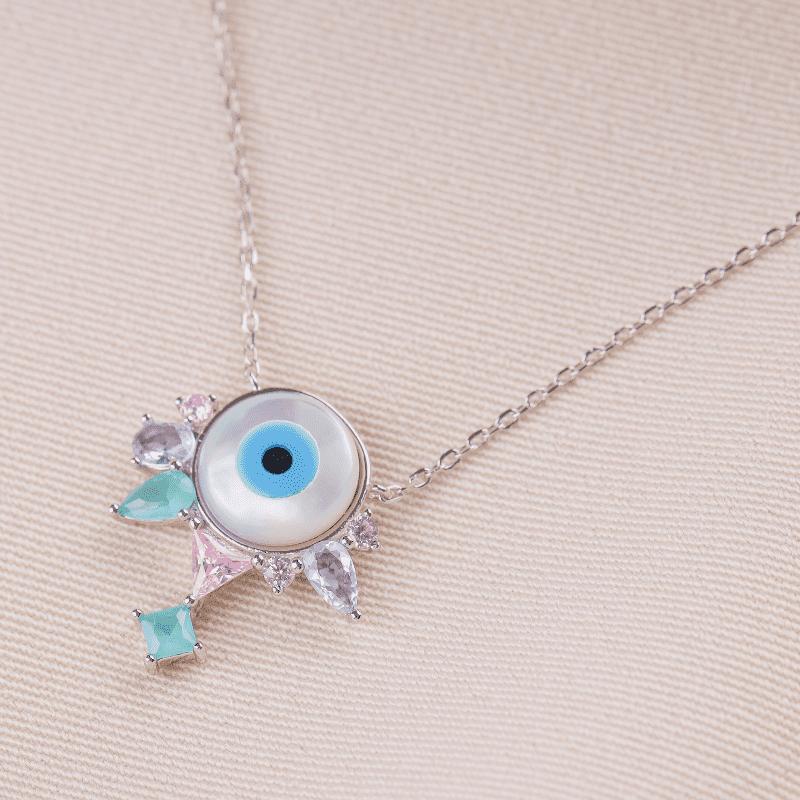 Colar em Prata Ródio Olho Grego zircônias coloridas
