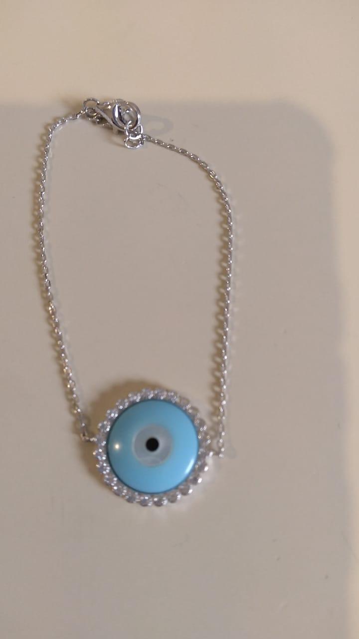 Pulseira em Prata Ródio Olho Grego azul com Zircônias branca