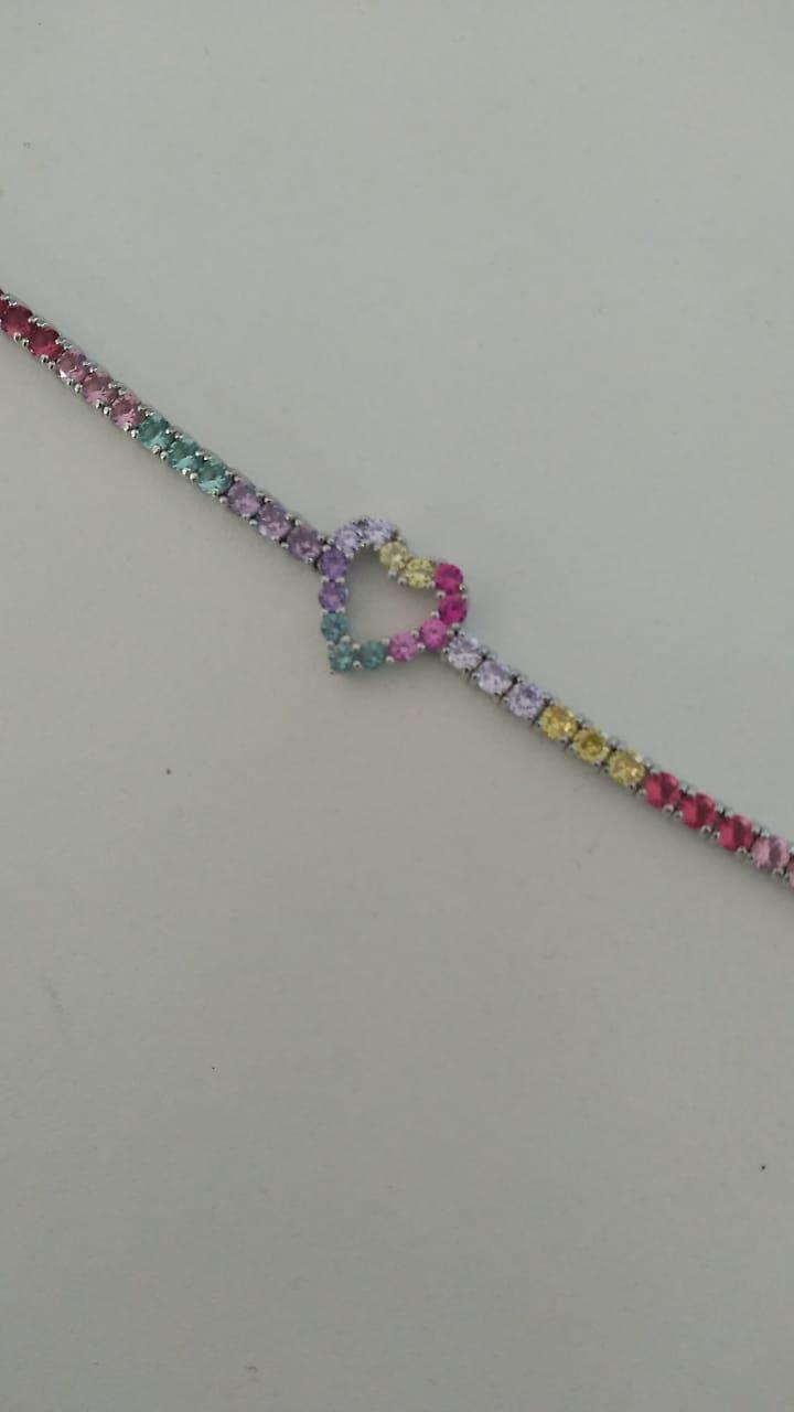 Pulseira Prata em ródio coração em zircônias coloridas