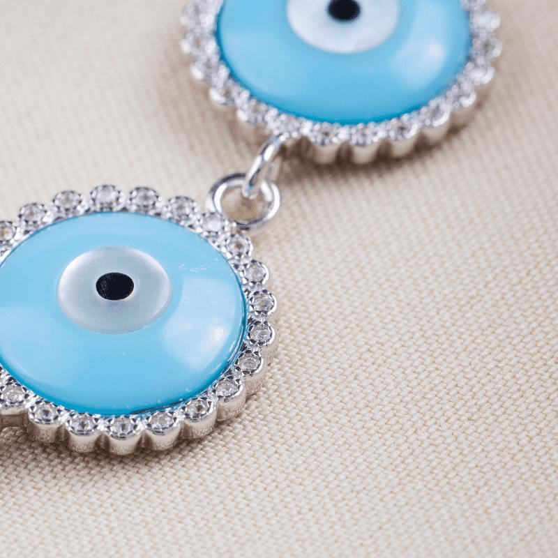 Pulseira Prata Rodio 7 Olhos Grego Azul com Zirconia