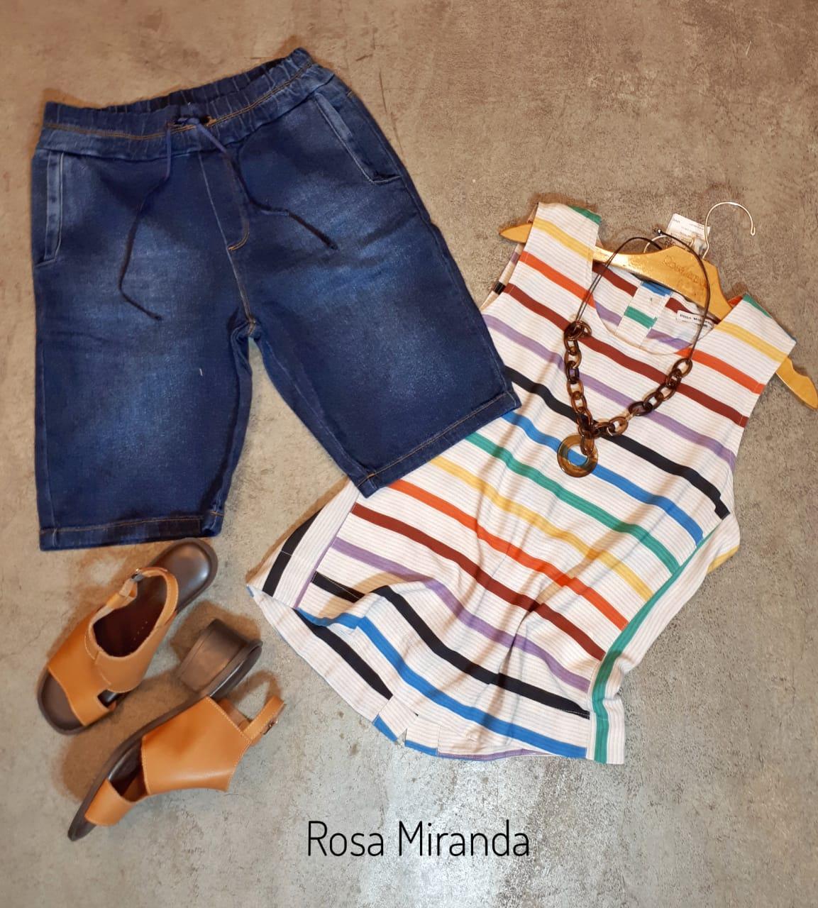 Bermuda jeans elástico