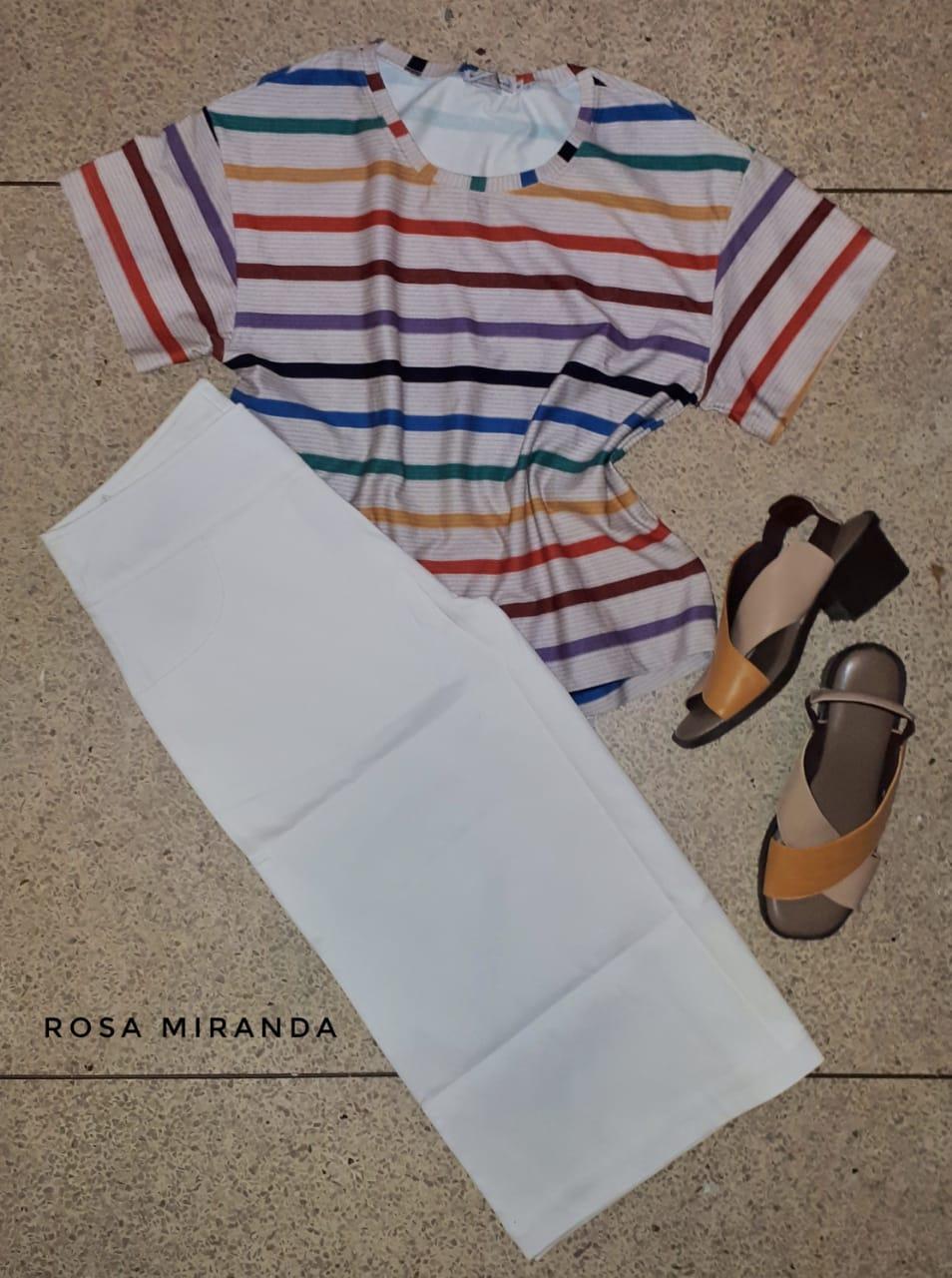 Blusa malha pesada listras coloridas