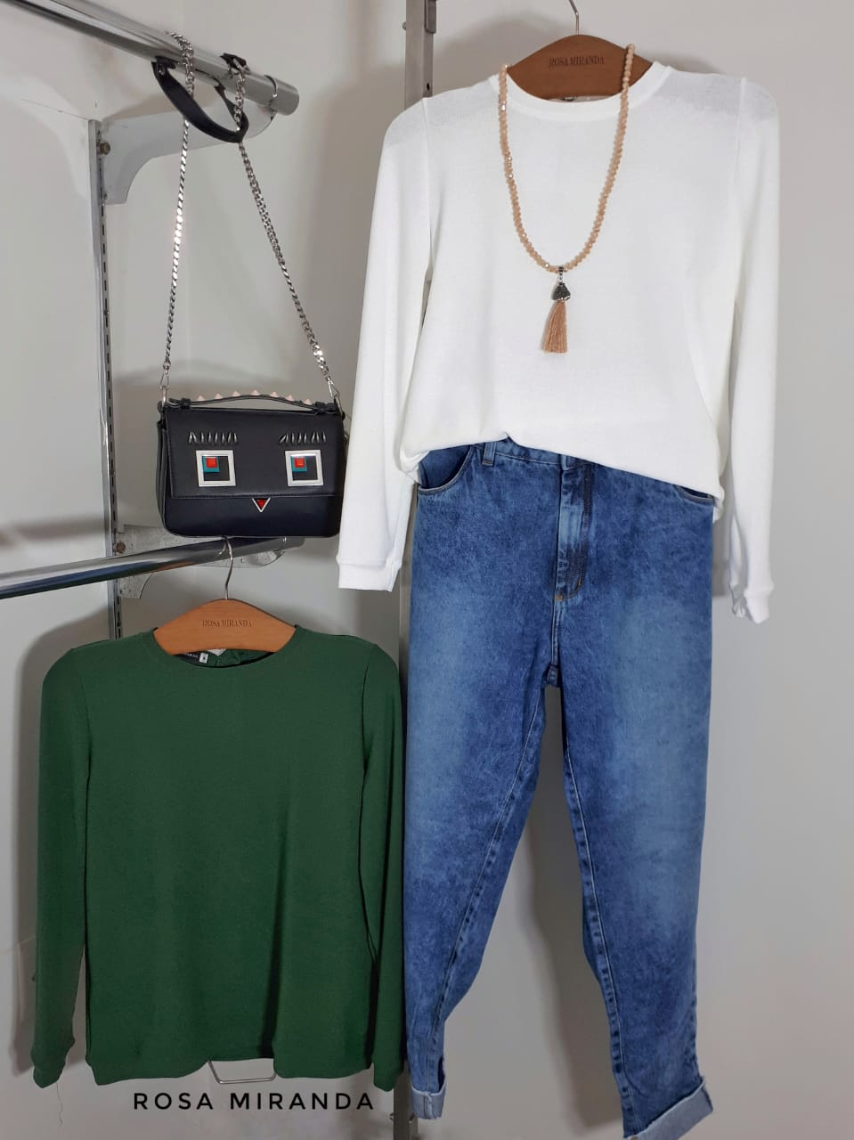 Blusa manga longa malha tipo tricot