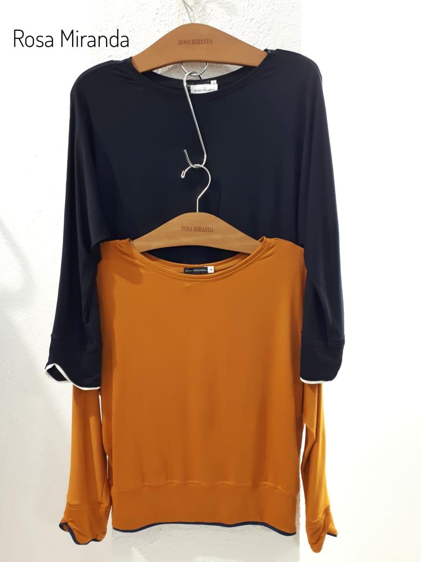Blusa pull com vivos delicados punho e barra