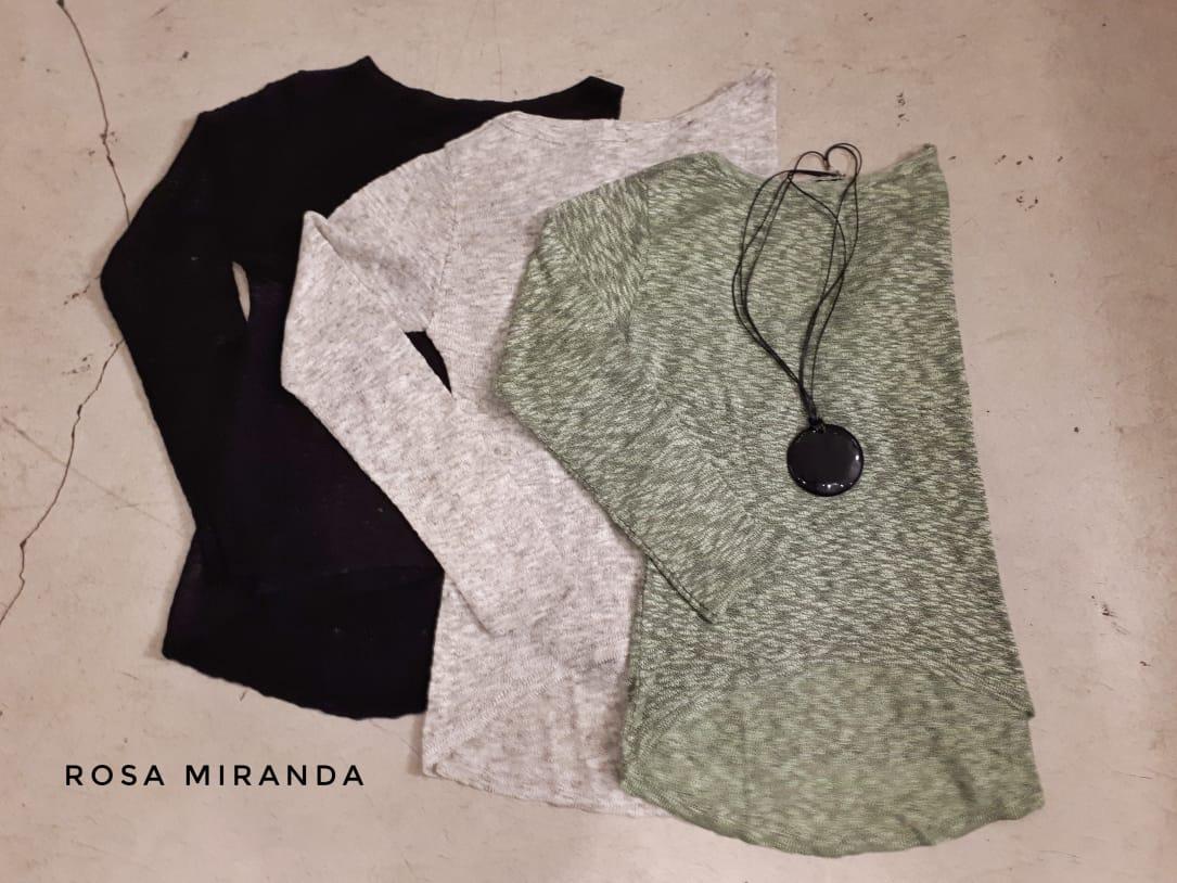 Blusa tricot mesclado decote redondo
