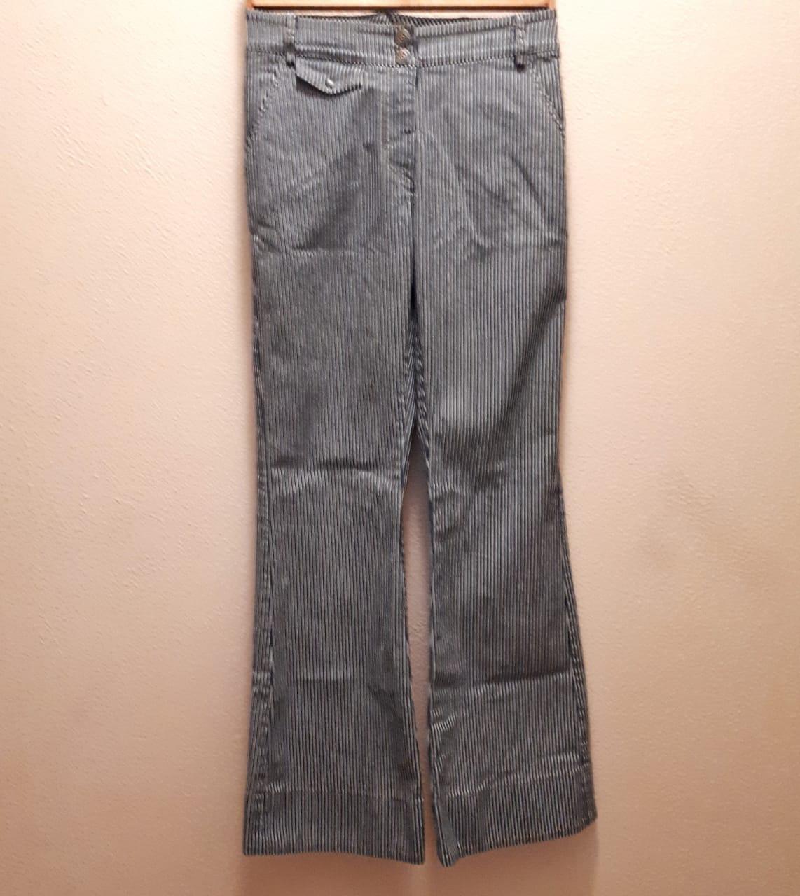 Calça flare jeans listras