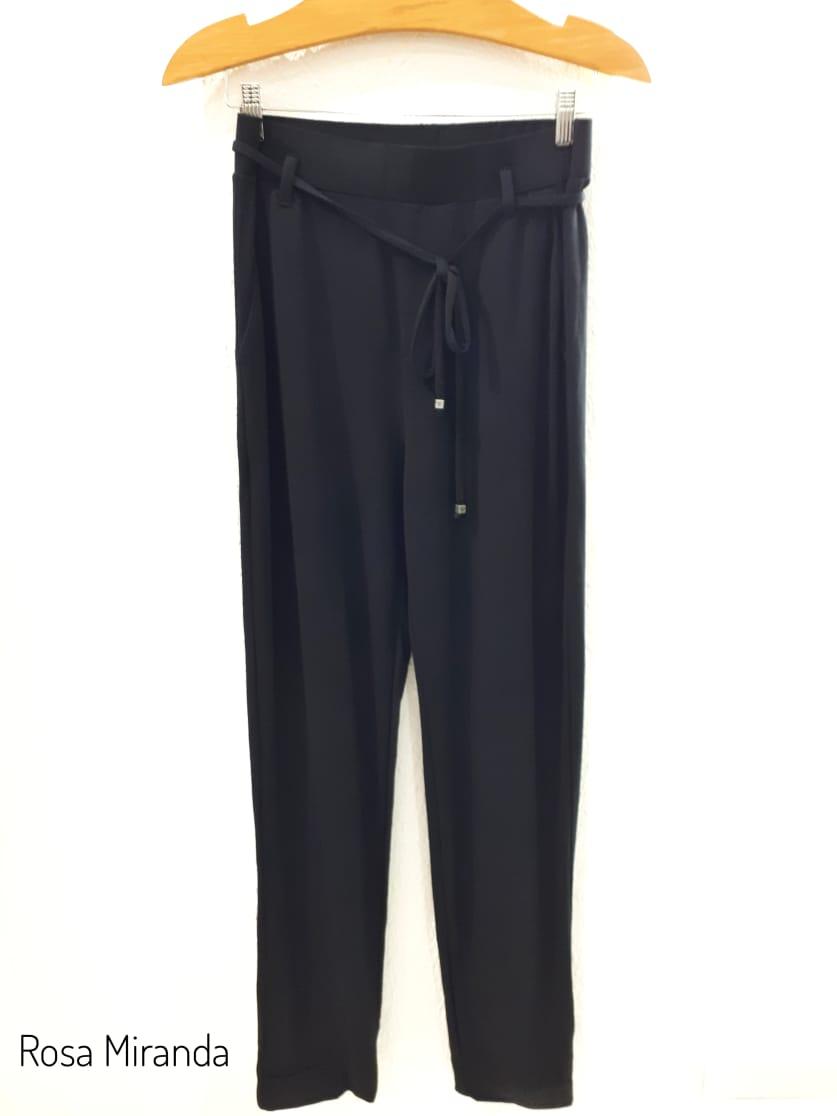 calça moletinho reta com cadarço cintura