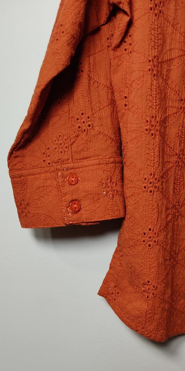 Camisa de abotoar laise em algodão
