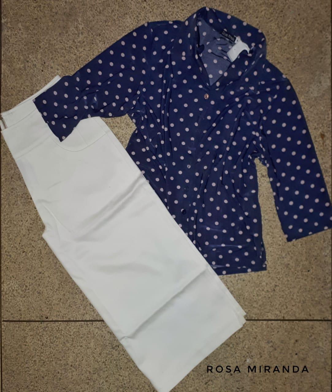 Camisa malha fria marinho poás