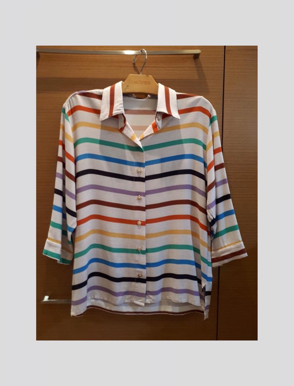 Camisa viscose listras coloridas