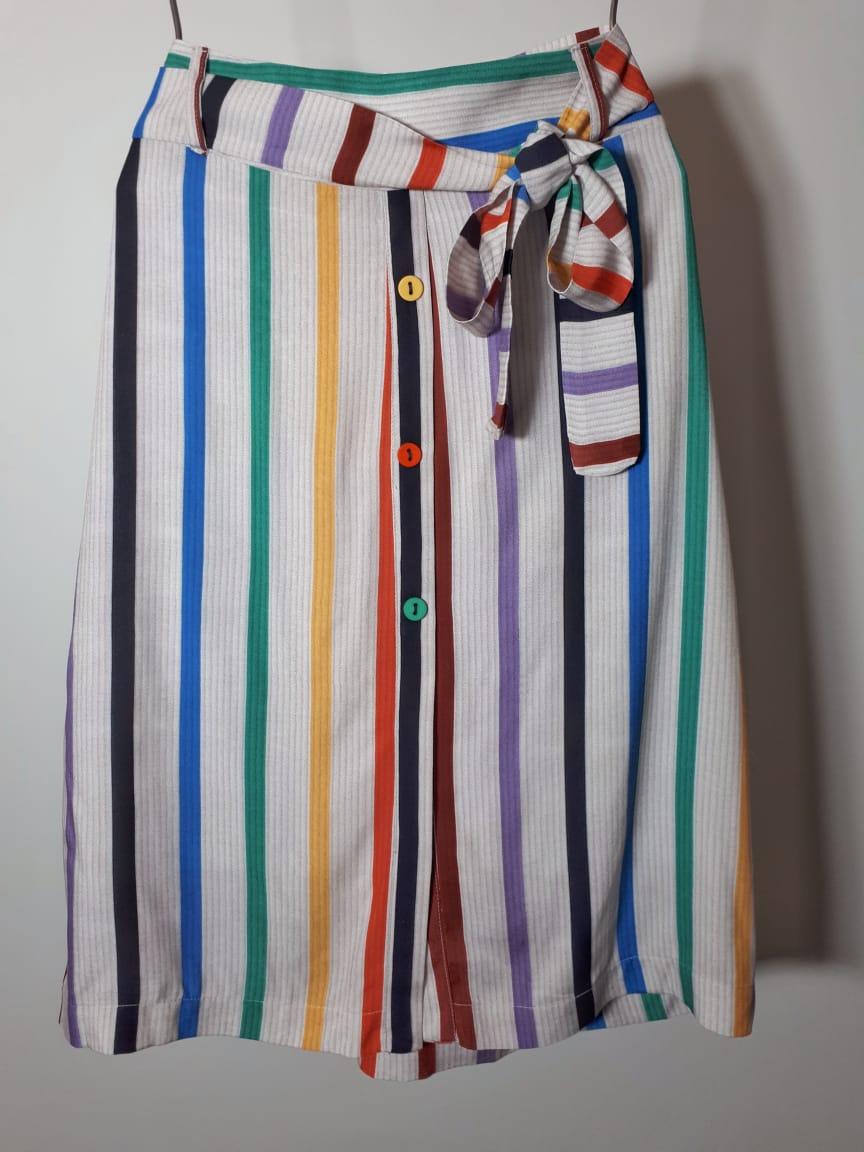 Saia viscose listras coloridas exclusivas
