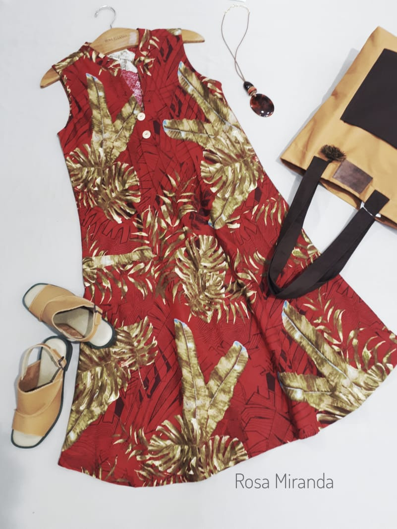 Vestido Linho Folhagem