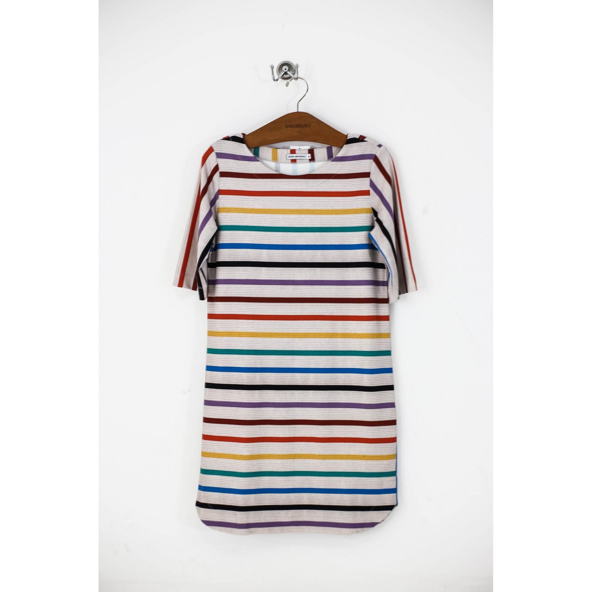 Vestido malha pesada listras coloridas
