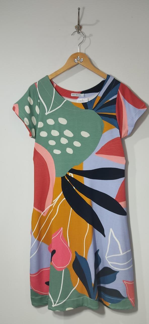Vestido malha moletinho estampa colorida